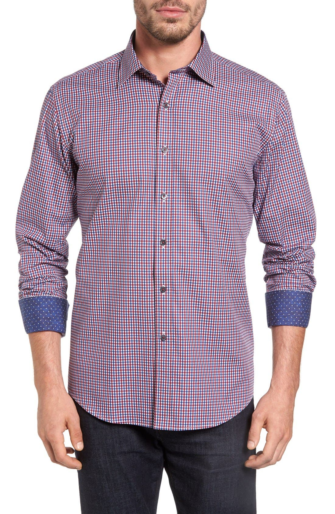 BUGATCHI Shaped Fit Graphic Check Sport Shirt