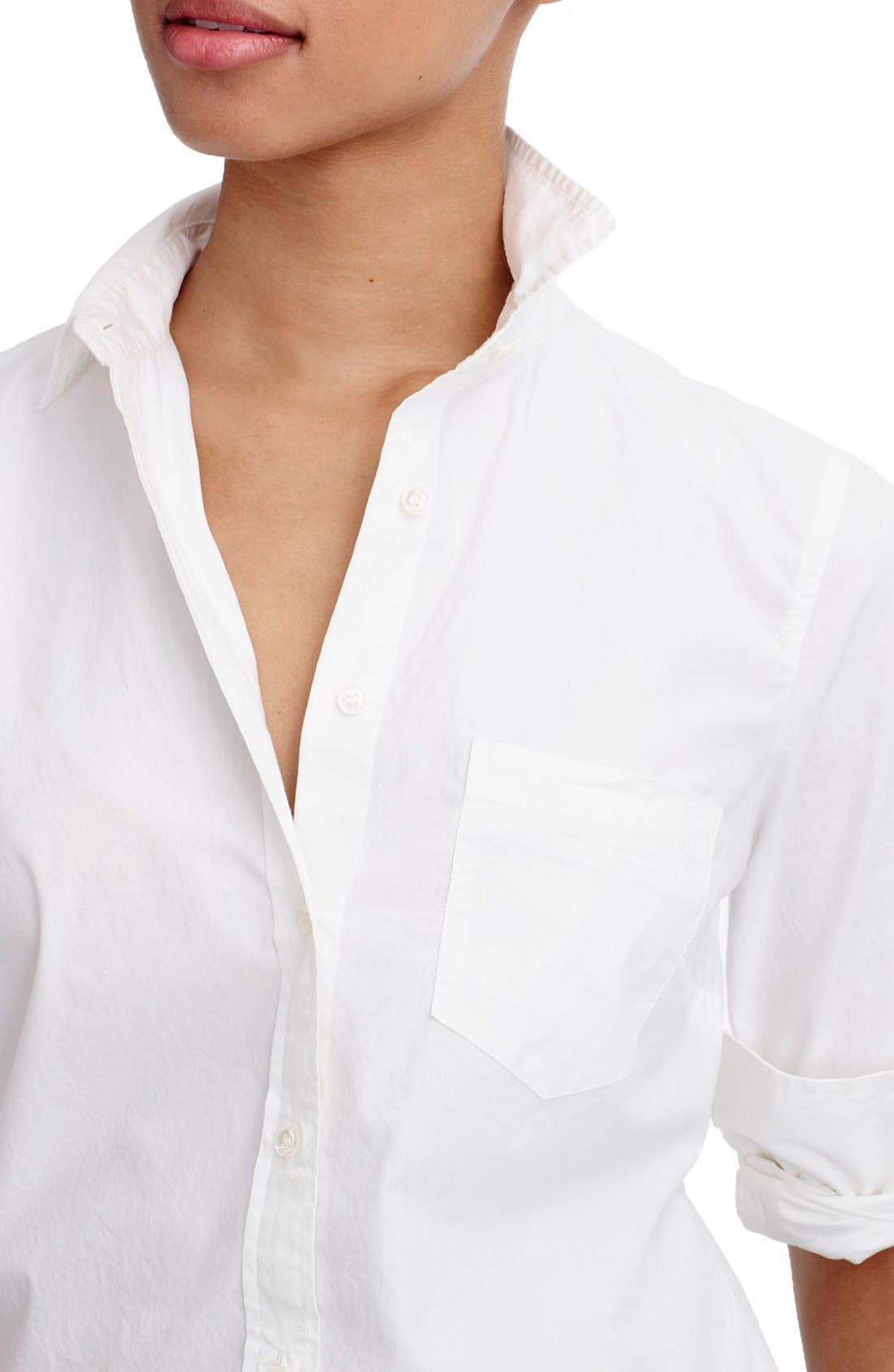 Alternate Image 4  - J.Crew New Perfect Cotton Poplin Shirt (Regular & Petite)