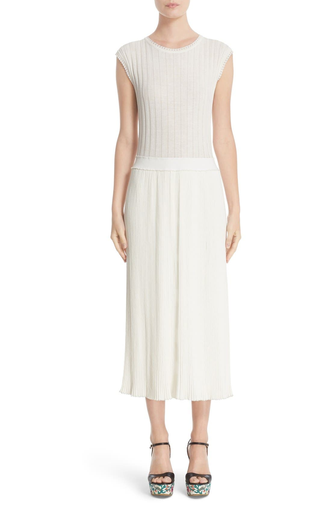 ADAM LIPPES Rib Knit Cotton Blend Dress