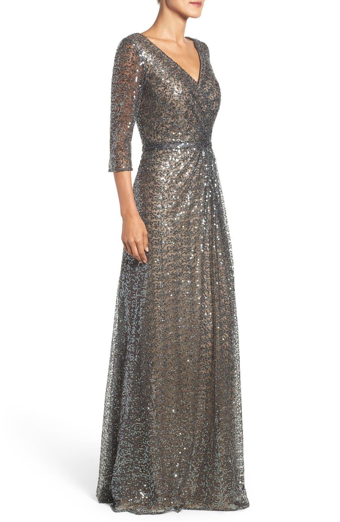 Alternate Image 3  - La Femme Sequin Mesh Gown