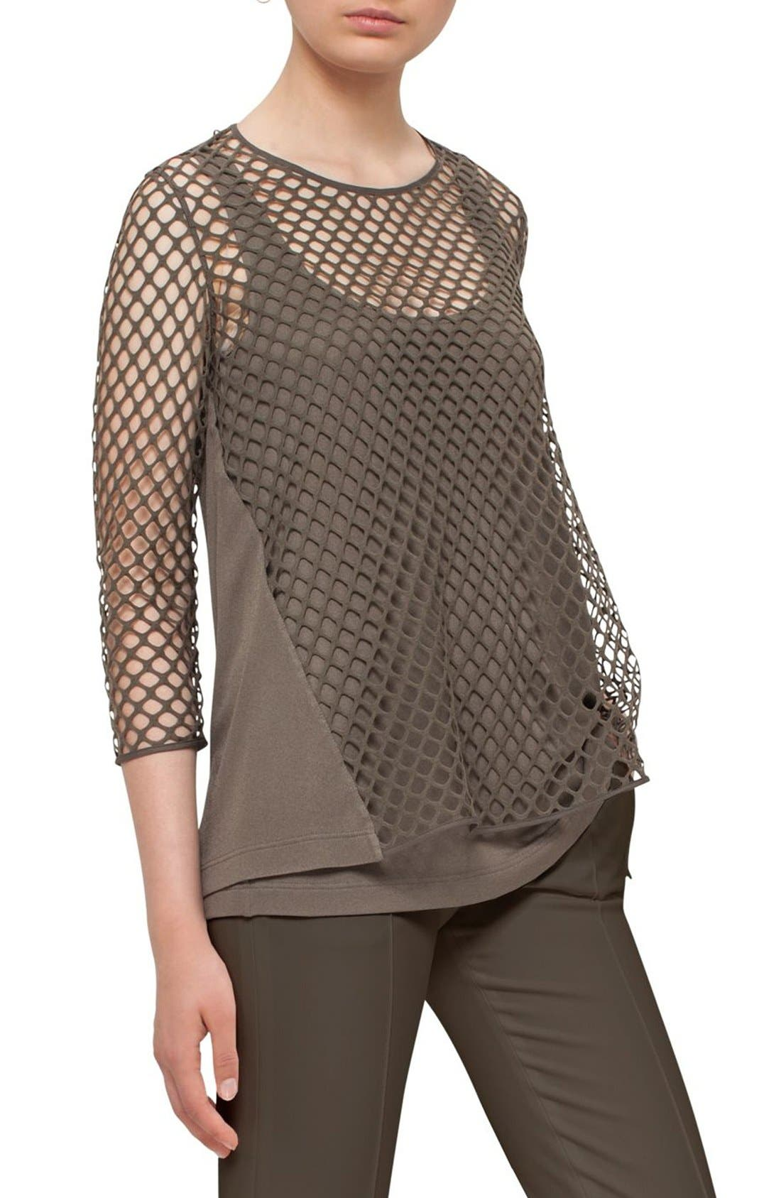 AKRIS PUNTO Stretch Cotton Mesh Top