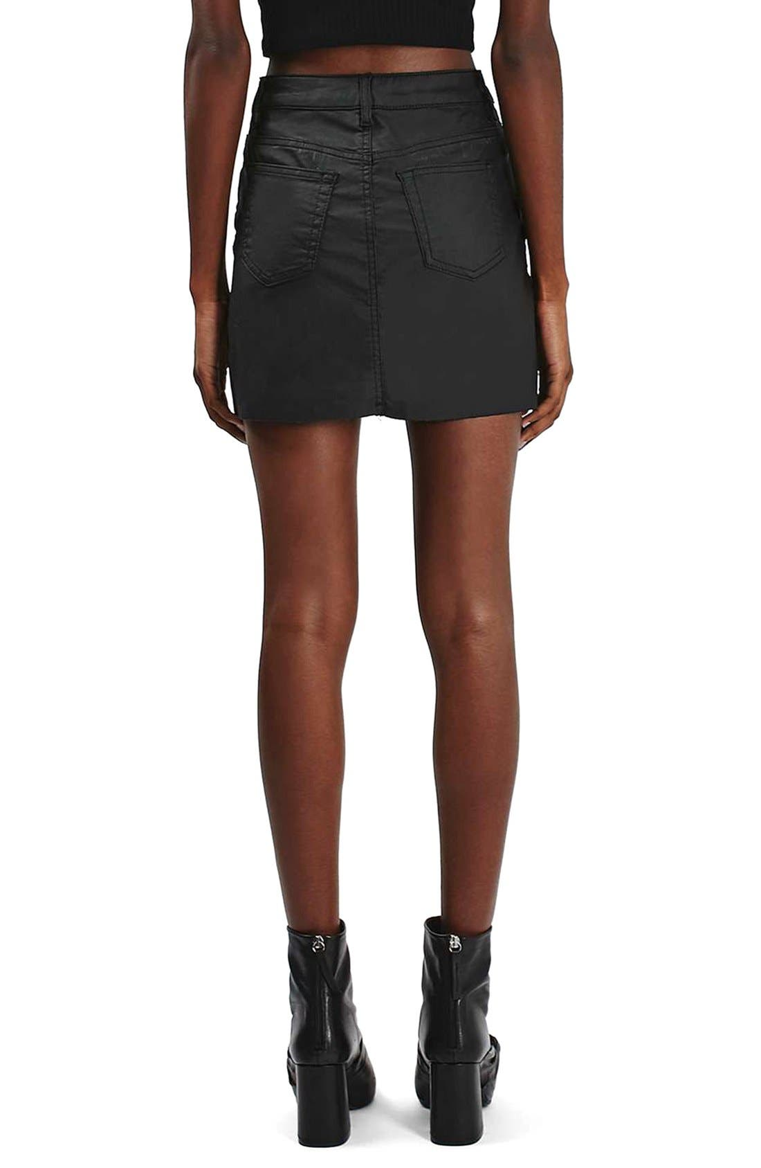 Alternate Image 3  - Topshop Coated Stretch Denim Miniskirt