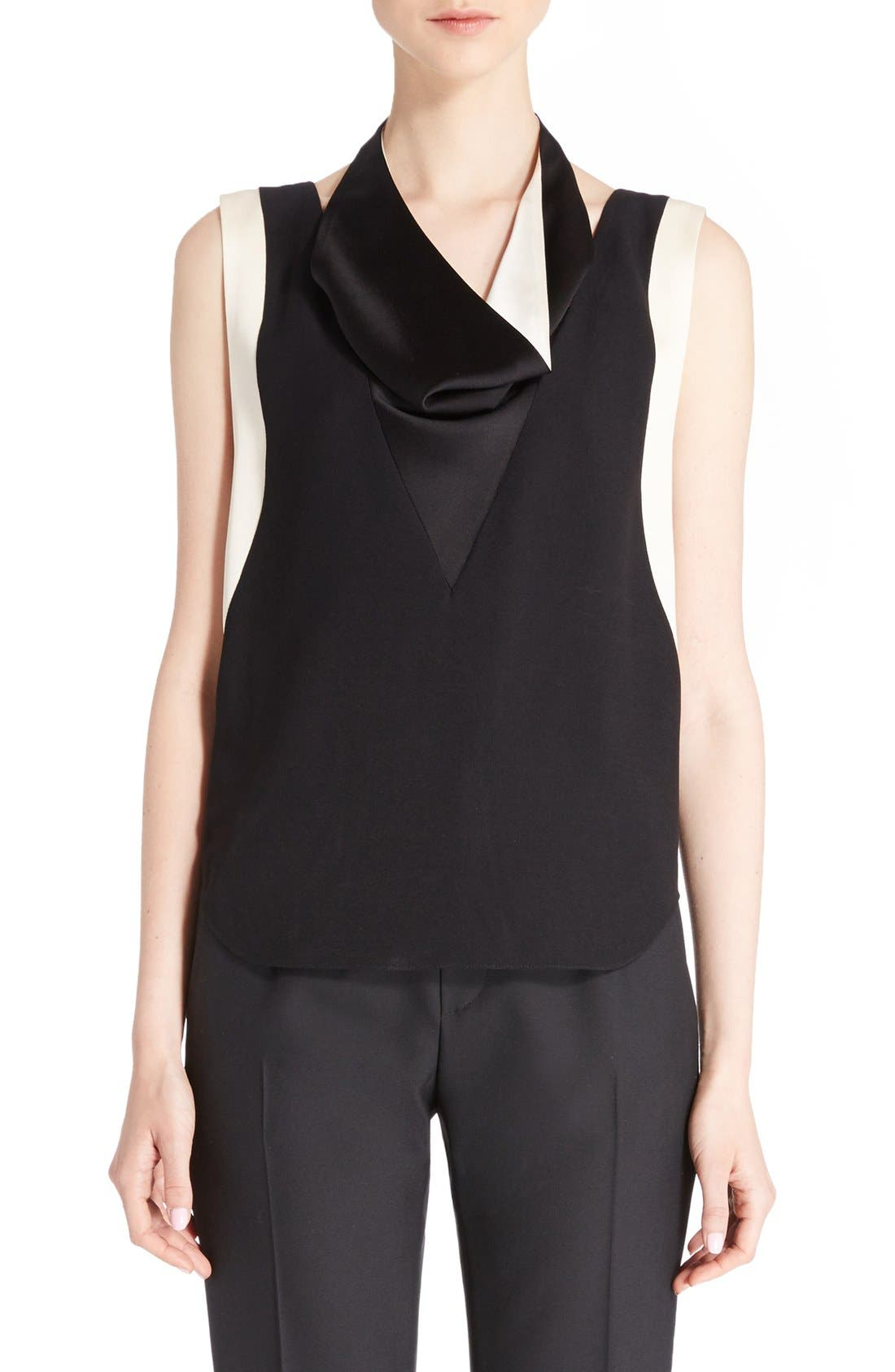 LANVIN Contrast Trim Satin Back Crepe Top