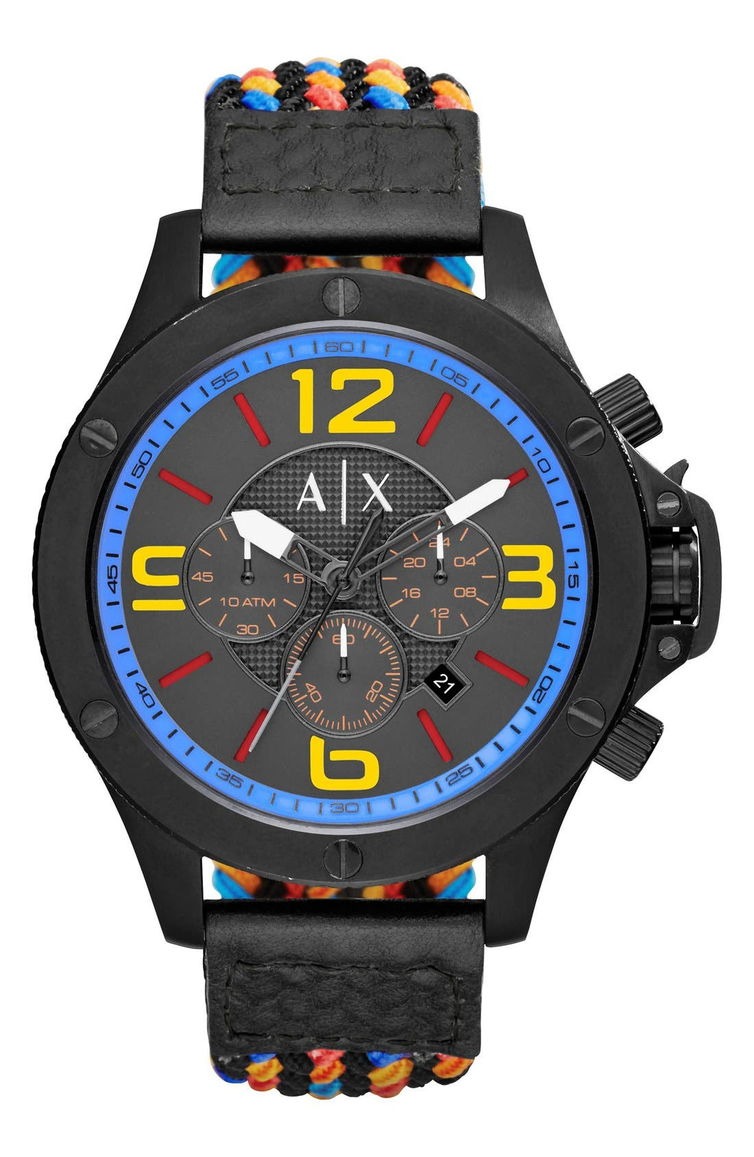 AX Armani Exchange Chronograph Woven Cord Strap Watch, 48mm