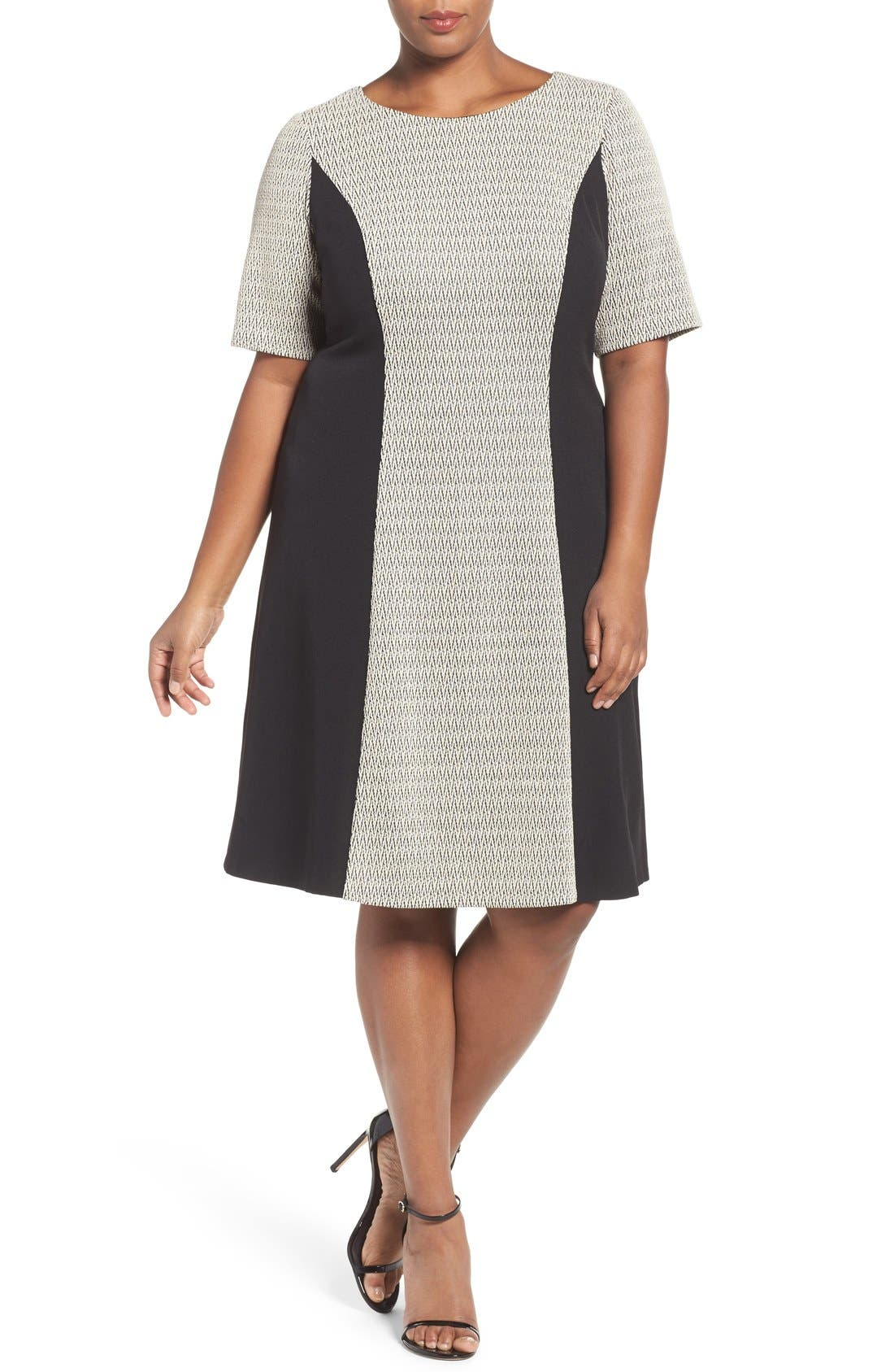 London Times Colorblock Zigzag Knit Fit & Flare Dress (Plus Size)
