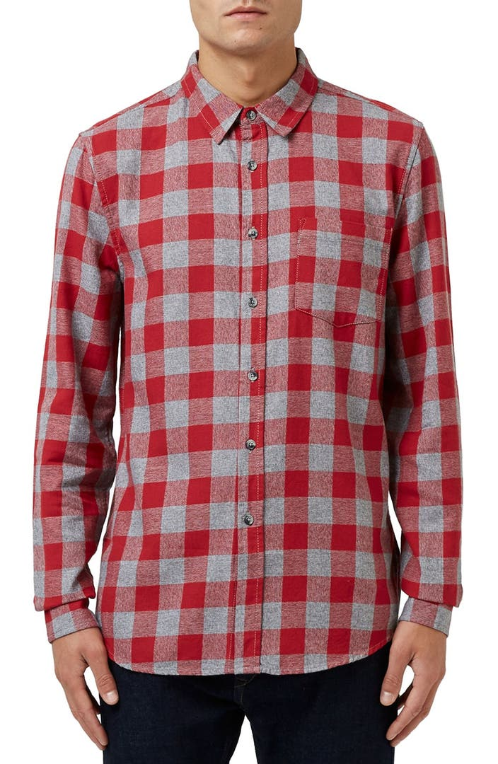 Topman buffalo check flannel shirt nordstrom for Buffalo check flannel shirt jacket