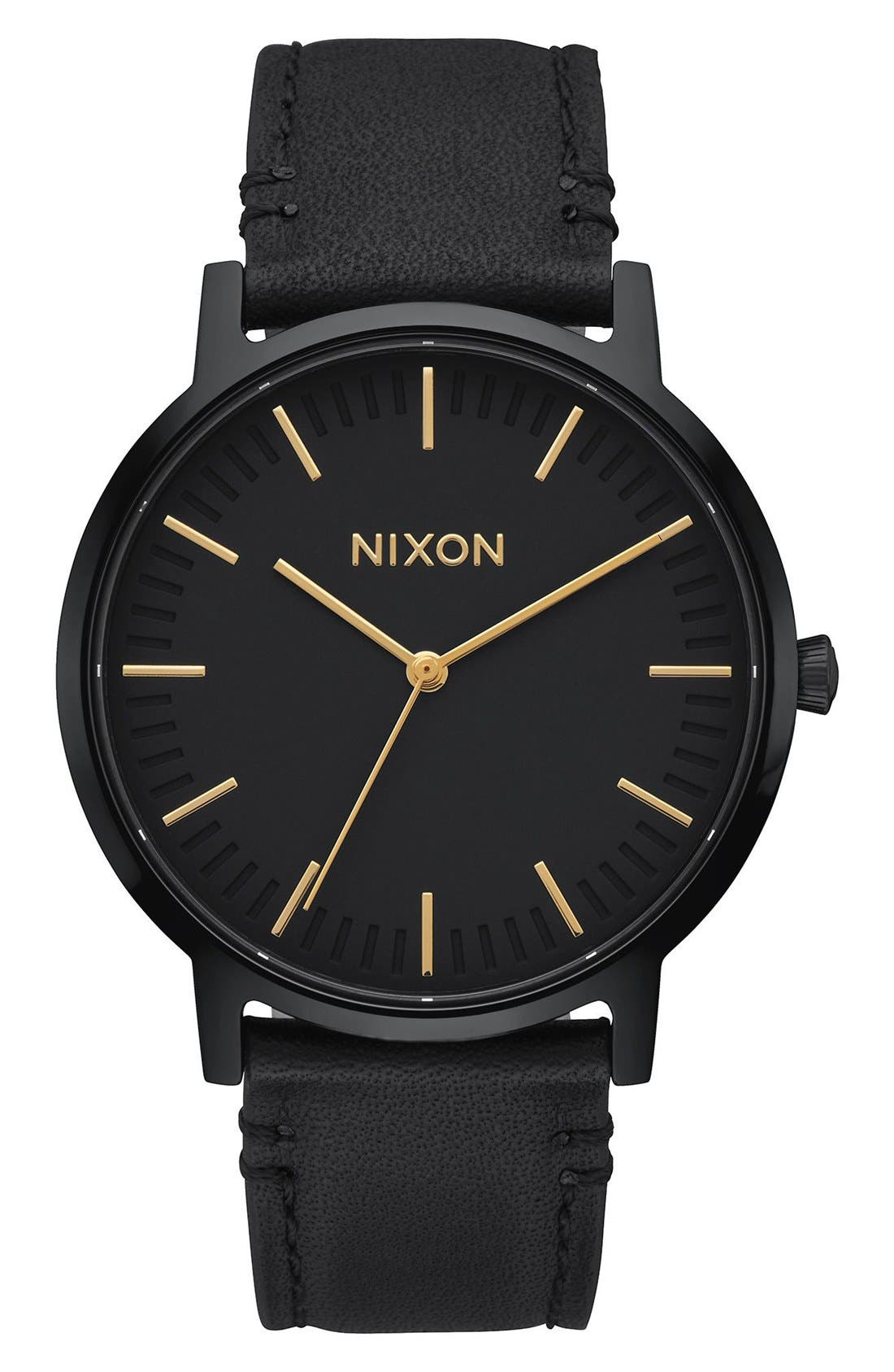 Nixon The Porter Leather Strap Watch, 40mm