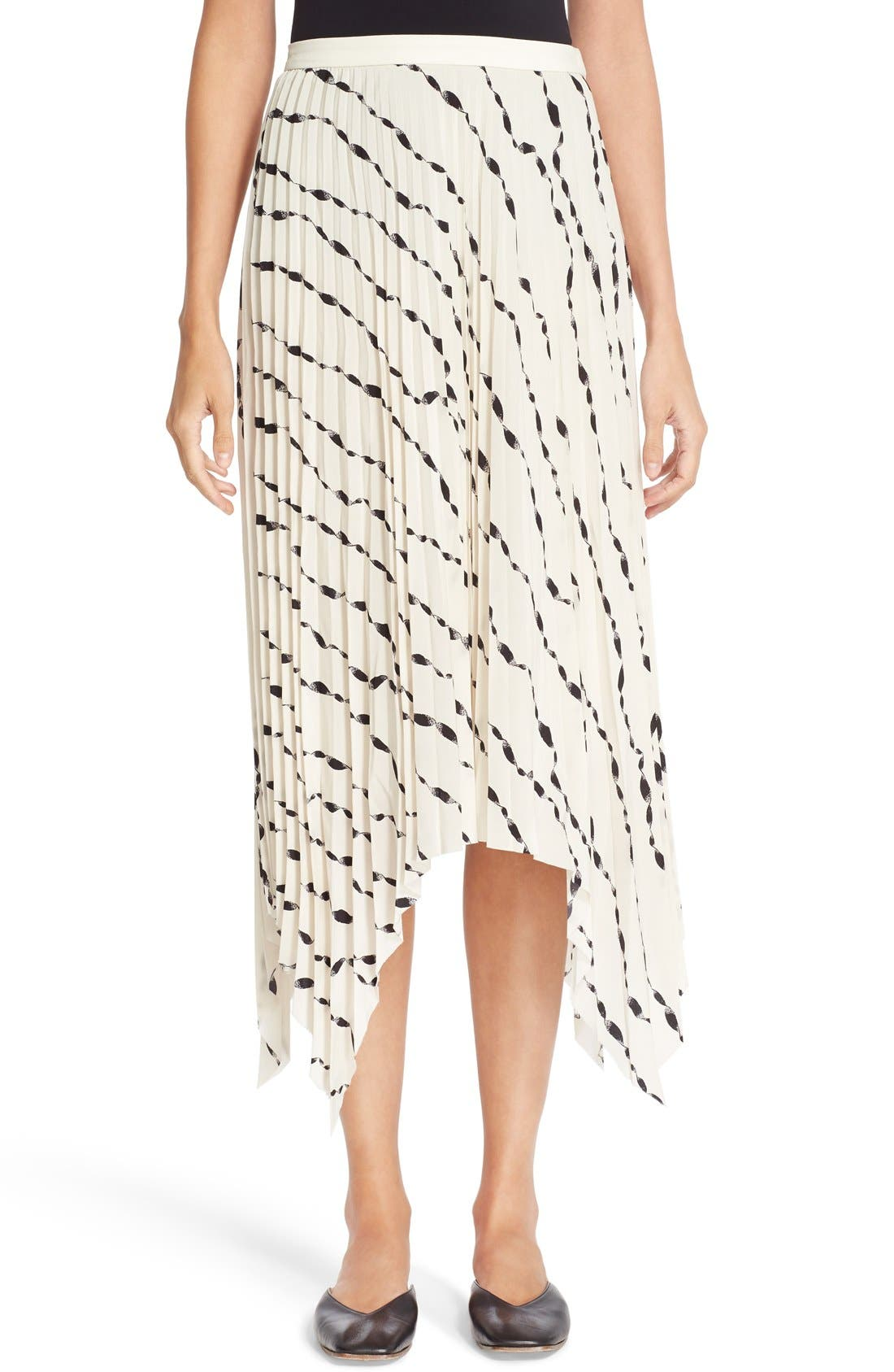 HELMUT LANG Print Pleated Silk Skirt