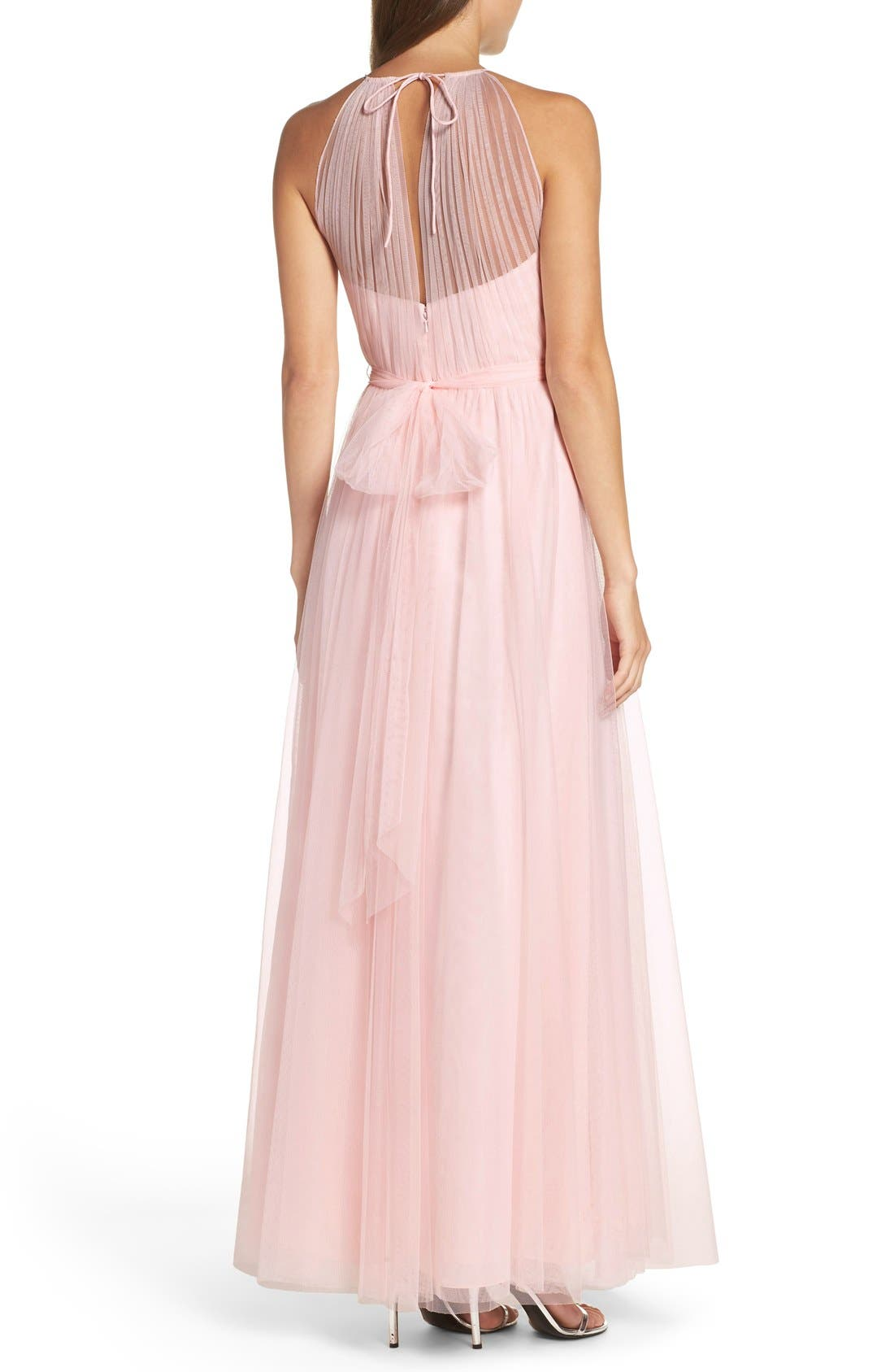 Alternate Image 2  - WTOO Tulle Halter Neck Gown