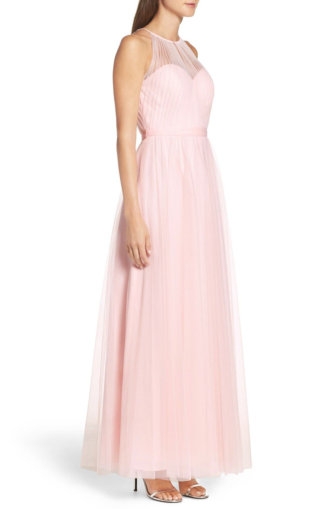 Alternate Image 3  - WTOO Tulle Halter Neck Gown