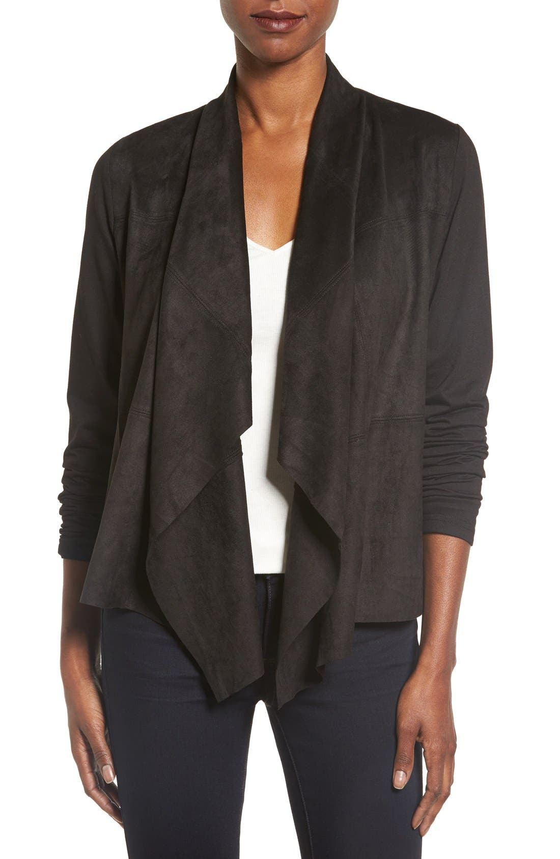 Foxcroft Open Front Faux Suede Cardigan (Regular & Petite)