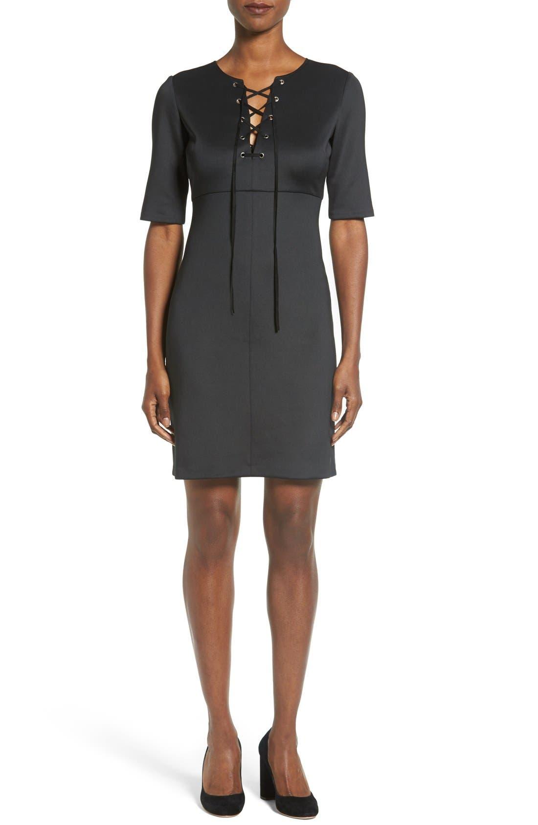 Alternate Image 1 Selected - Catherine Catherine Malandrino 'Shaw' Lace-Up Sheath Dress