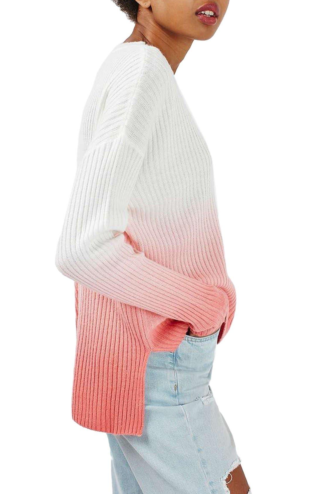 Main Image - Topshop Dip Dye V-Neck Sweater