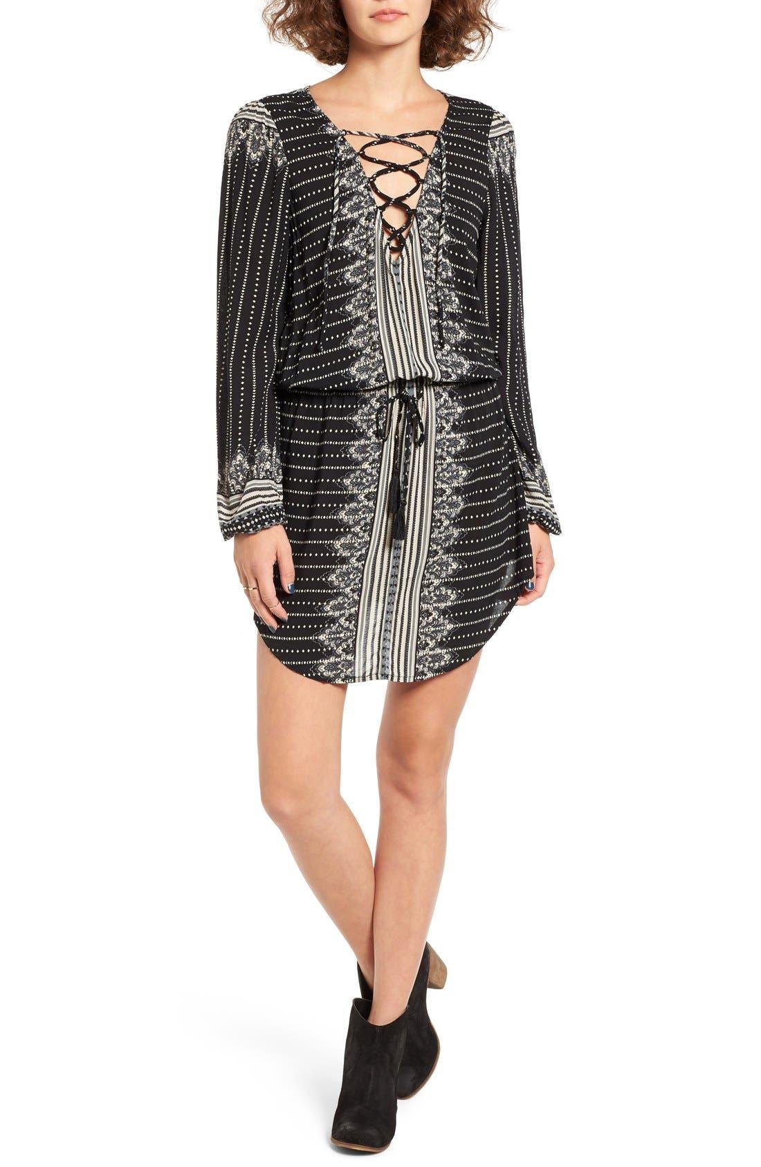 Main Image - Rip Curl Winter Bird Print Lace-Up Dress
