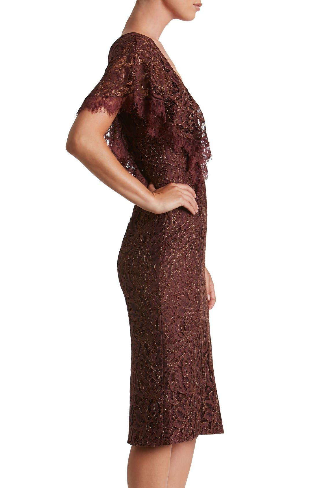 Alternate Image 3  - Dress the Population Lidia Lace Midi Dress