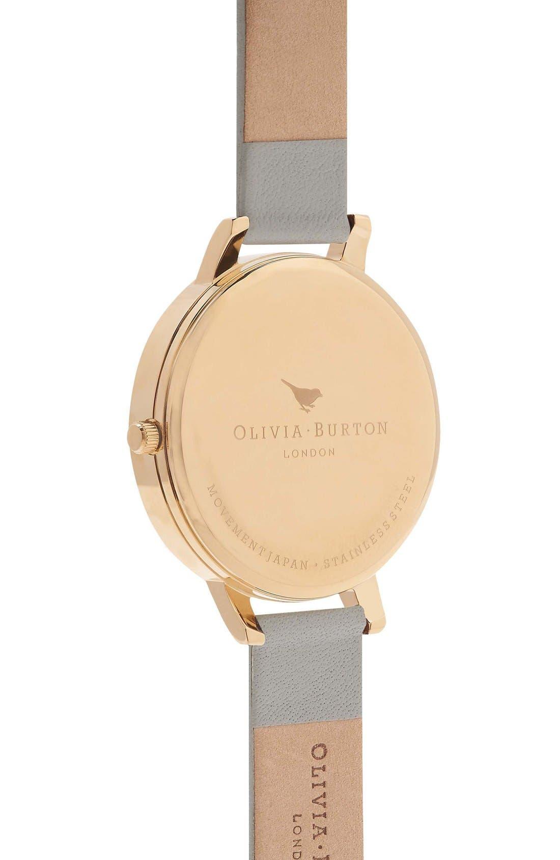 Alternate Image 2  - Olivia Burton Flower Show Leather Strap Watch, 38mm