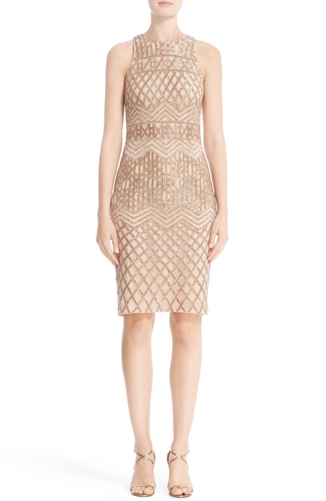 RACHEL GILBERT Beaded High Neck Sheath Dress