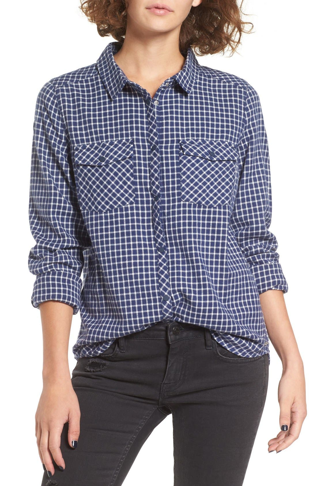 Alternate Image 1 Selected - Roxy Squary Cool Plaid Flannel Shirt