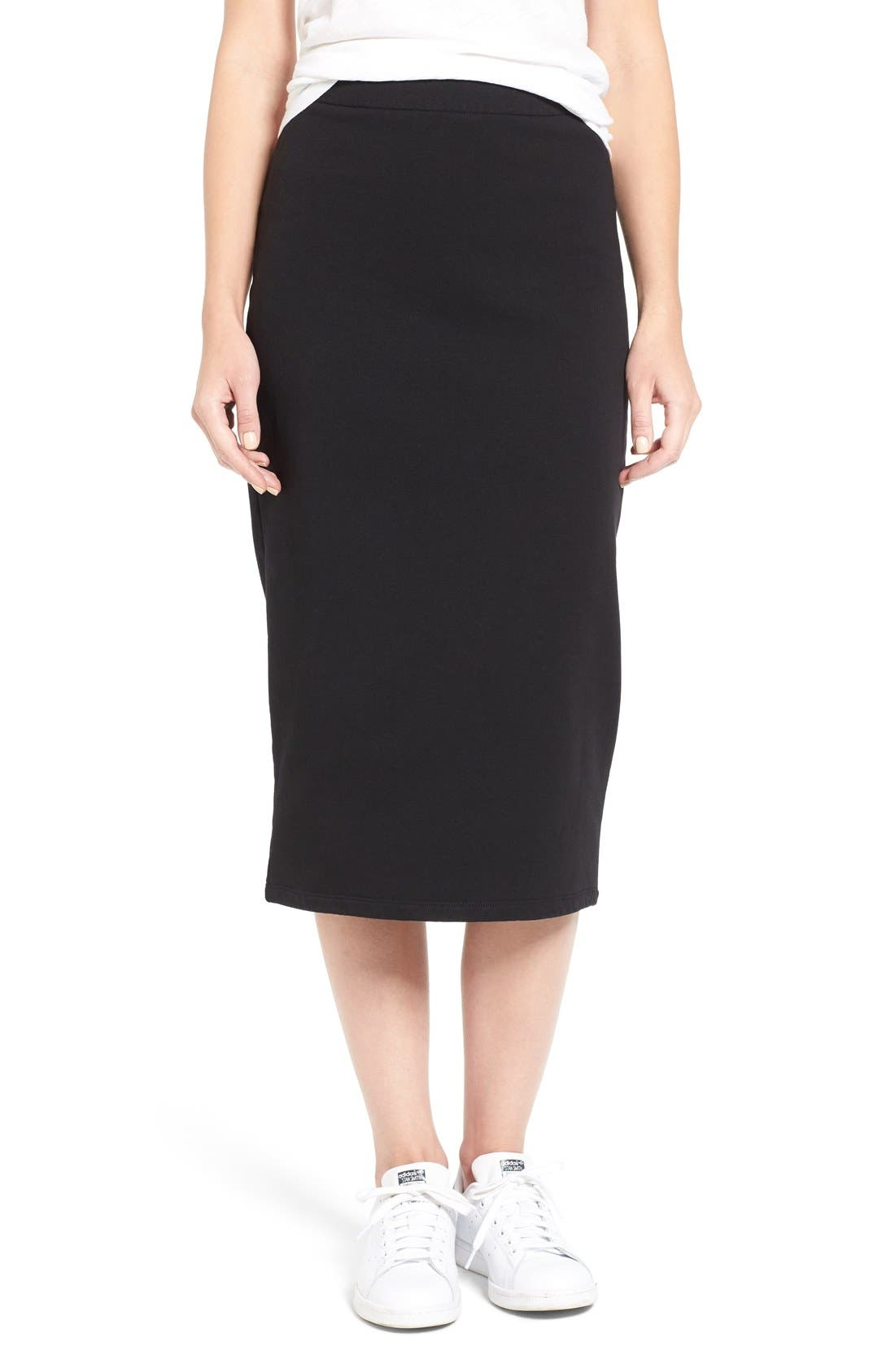 Main Image - James Perse Stretch Fleece Pencil Skirt