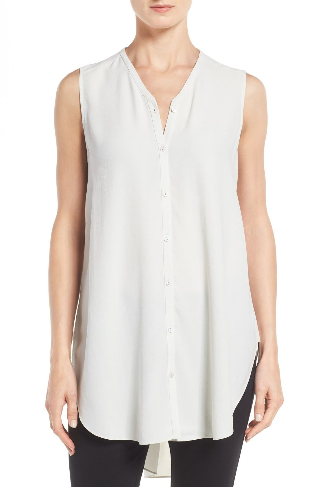 EILEEN FISHER Silk Georgette Crepe Asymmetrical V-Neck Top