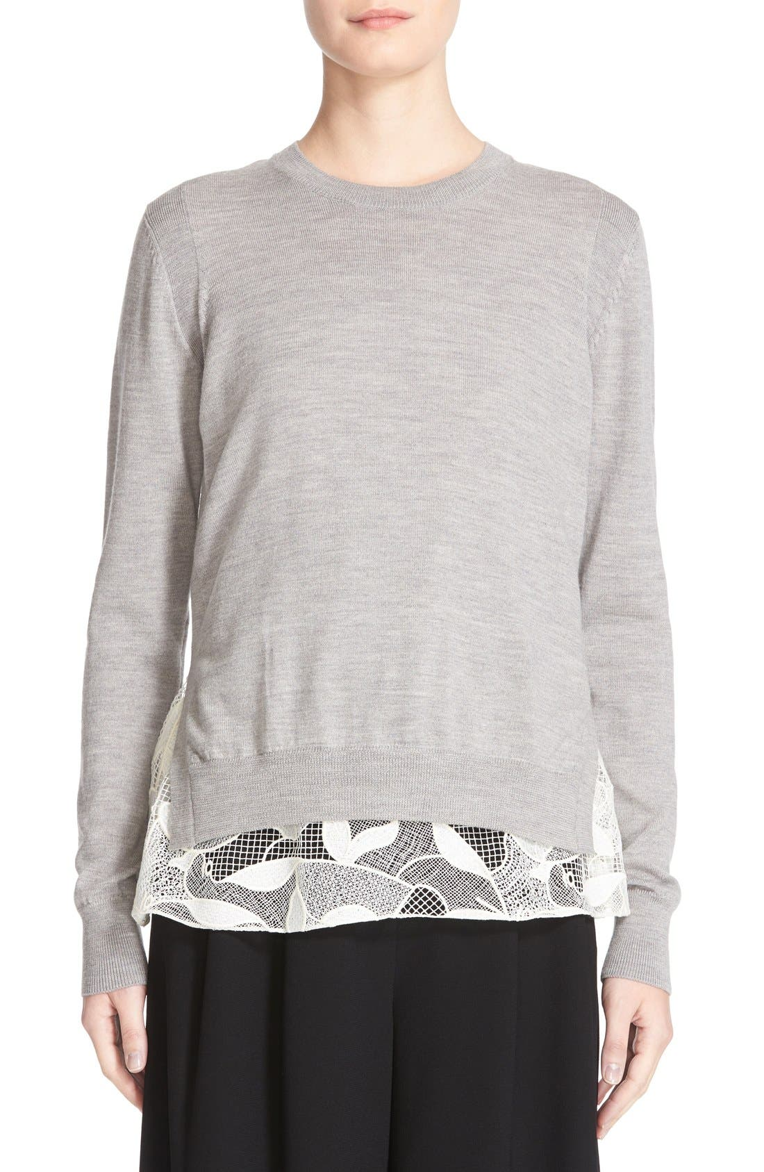 GREY JASON WU Lace Hem Merino Wool Pullover