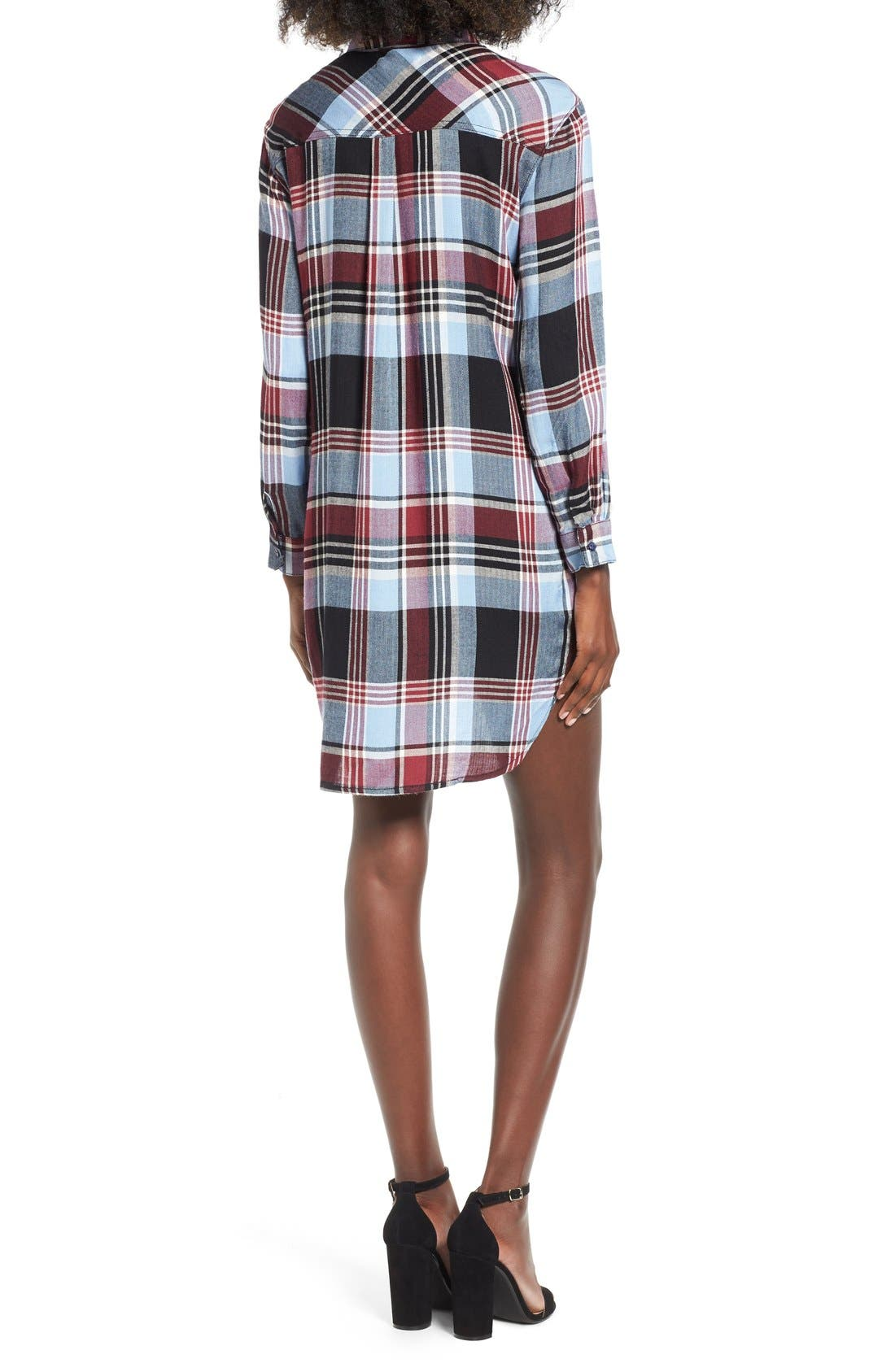 Alternate Image 2  - SP Black Plaid Shirtdress