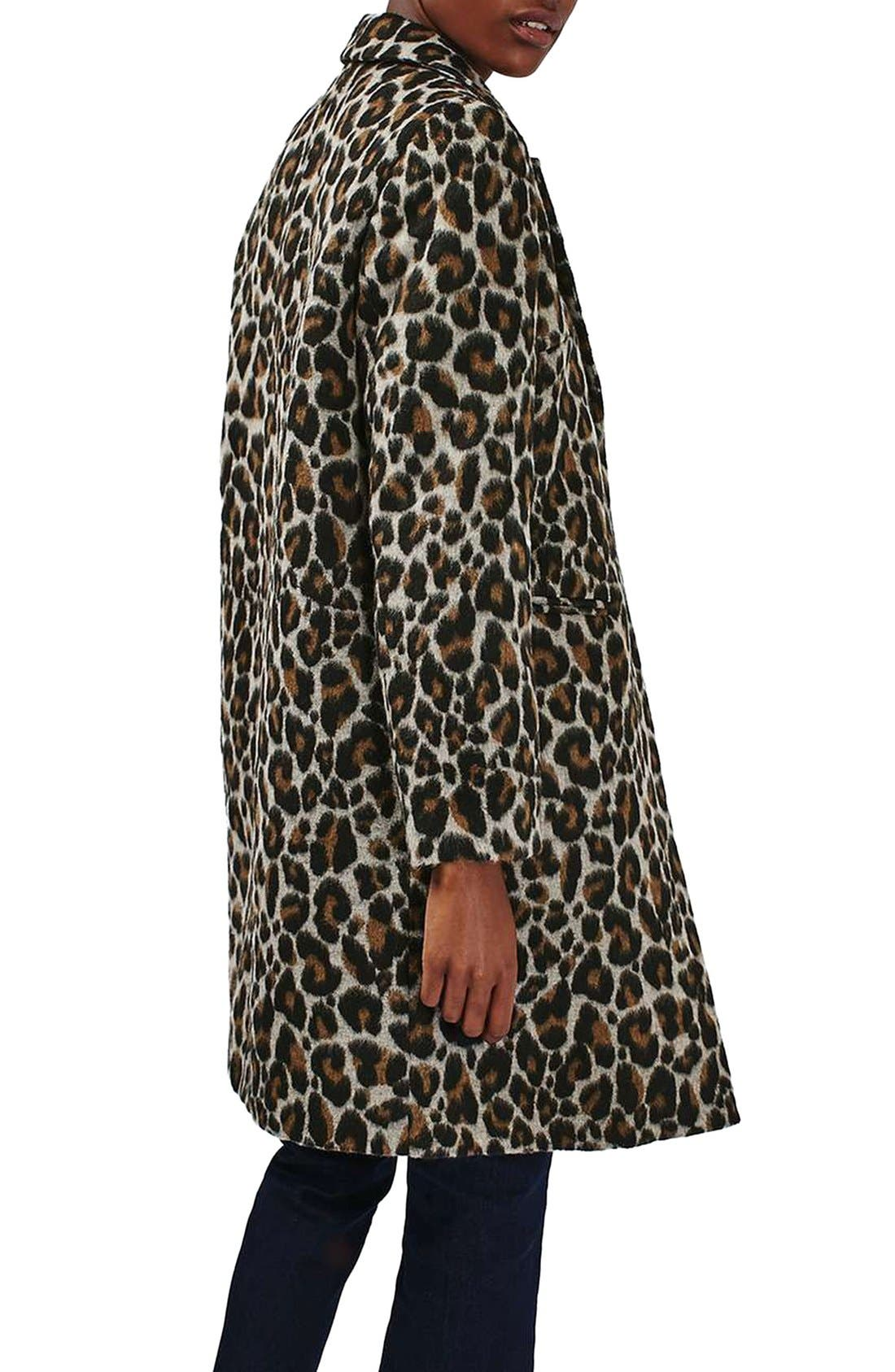 Alternate Image 3  - Topshop Leopard Print Car Coat