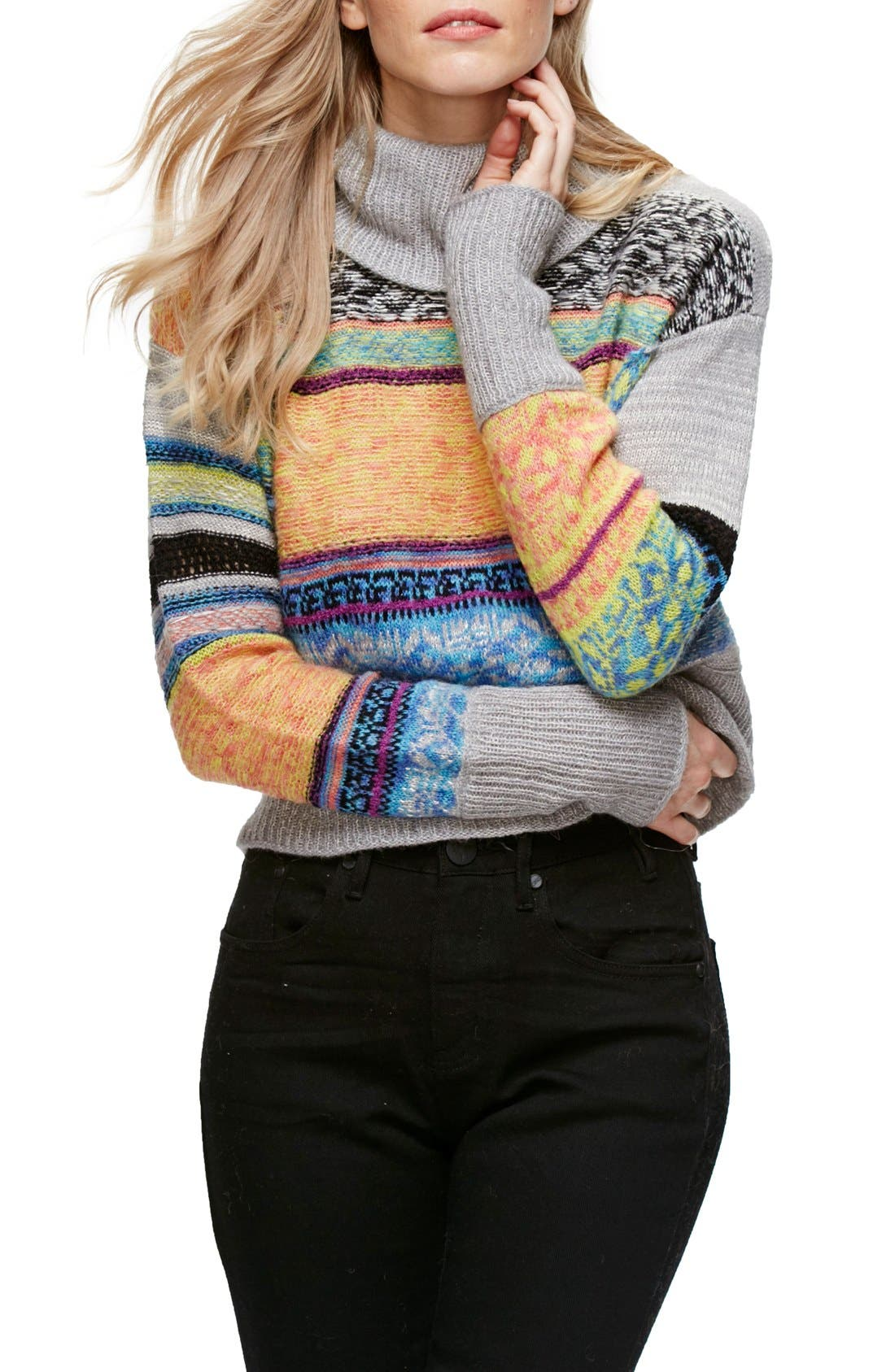 Alternate Image 1 Selected - Free People This & That Mix Stitch Stripe Sweater
