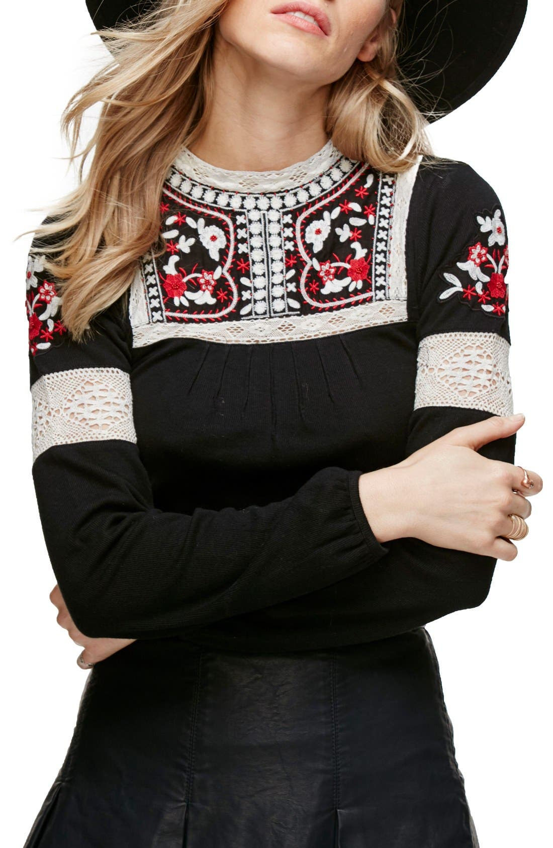 Alternate Image 1 Selected - Free People Cozy On Up Embroidered Top