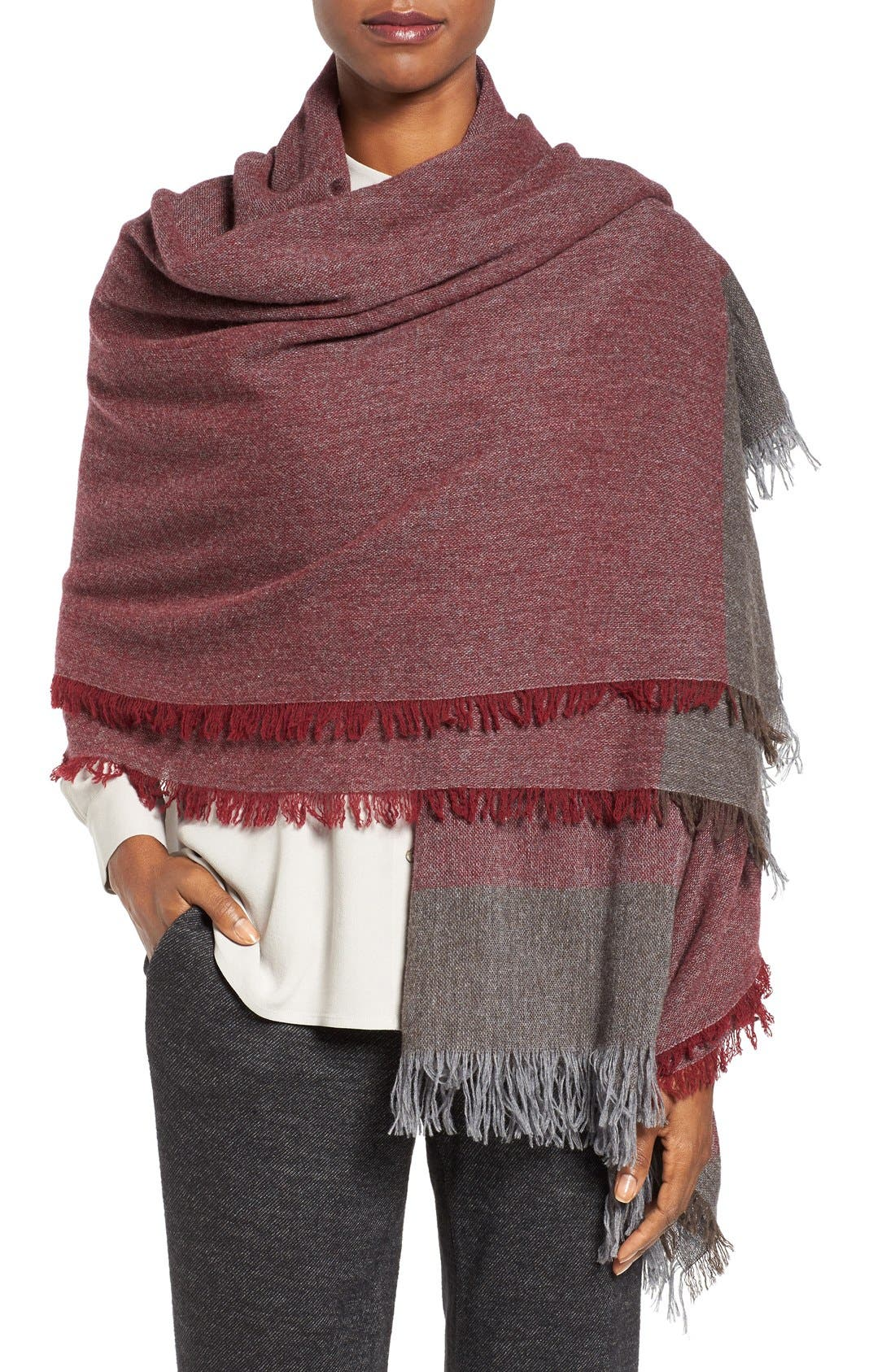 Main Image - Eileen Fisher Colorblock Wool & Cashmere Wrap