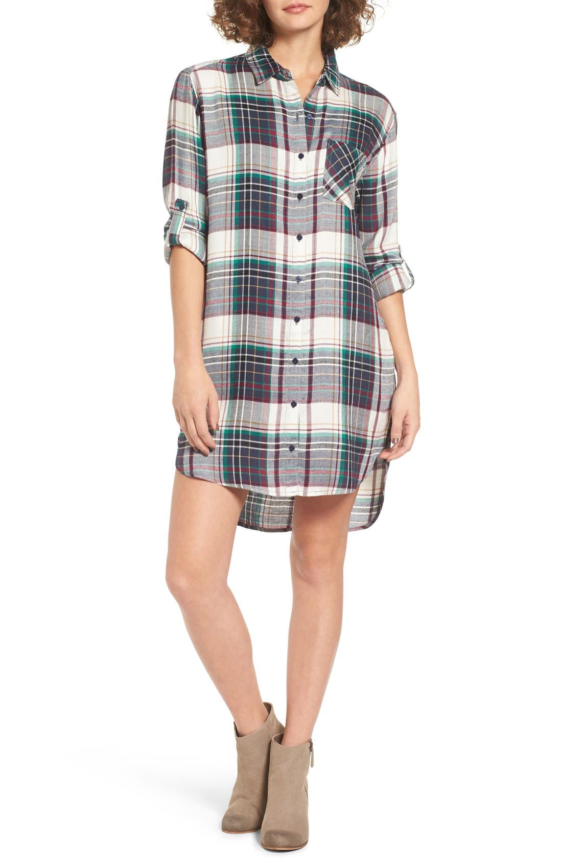 Alternate Image 1 Selected - SP Black Plaid Woven Shirtdress