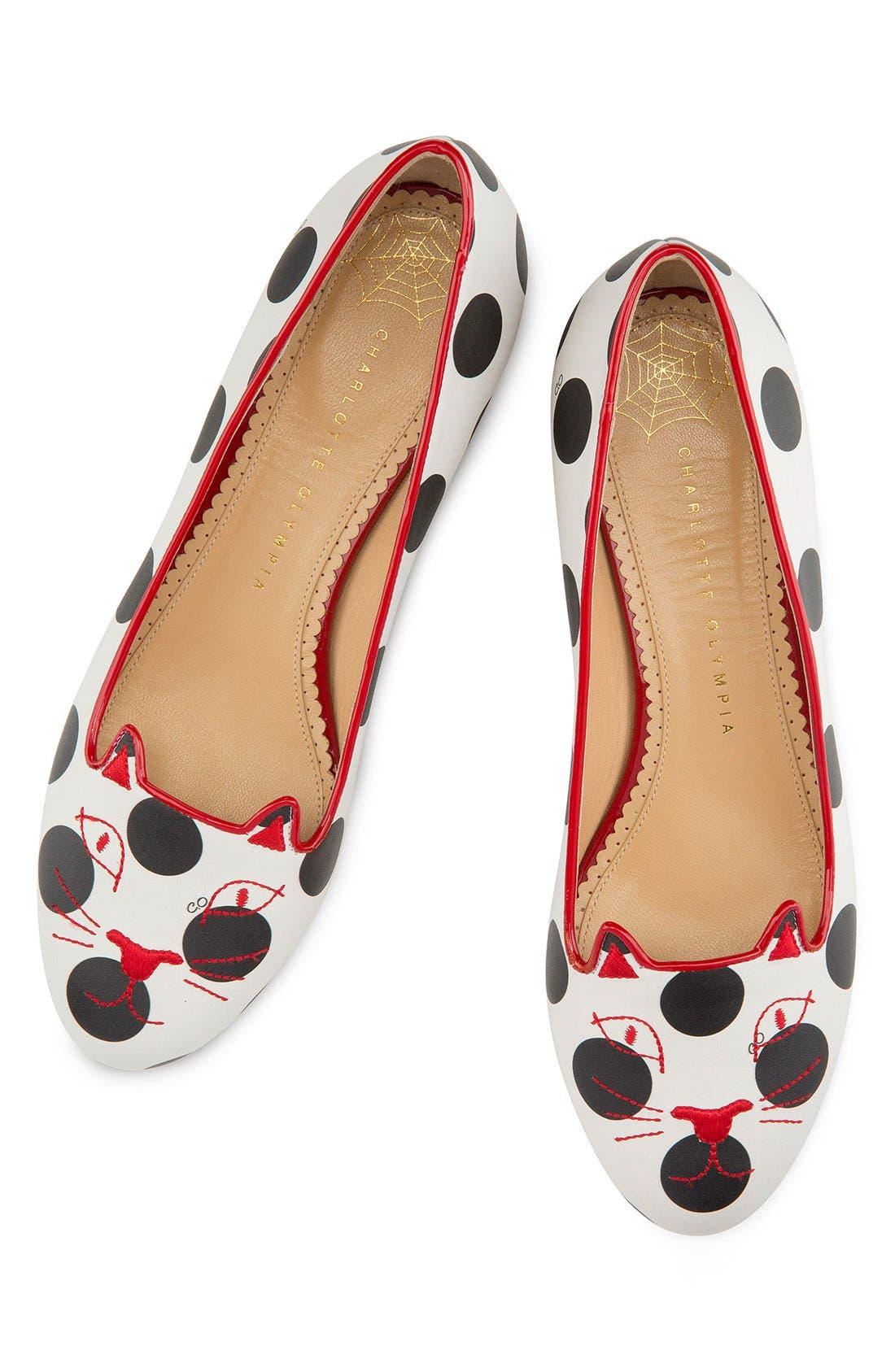 Alternate Image 1 Selected - Charlotte Olympia Polka Dot Kitty Flat (Women)