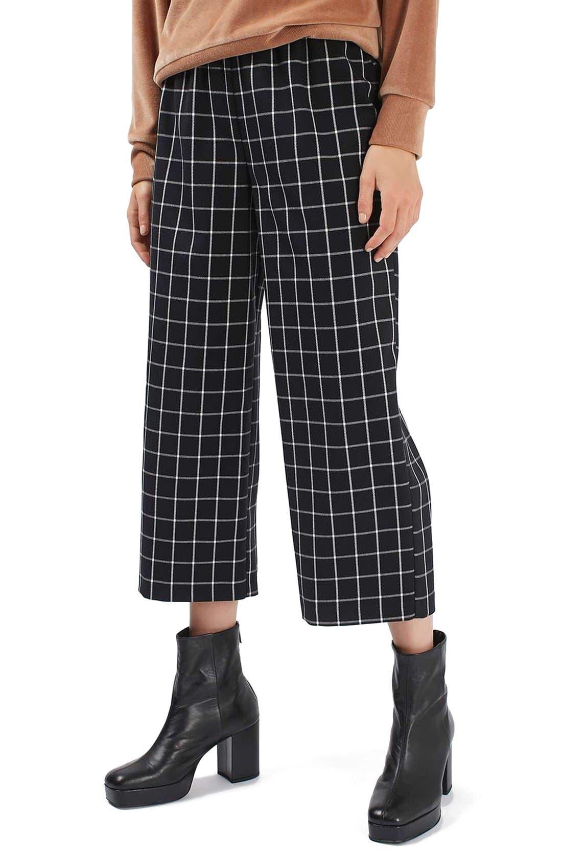 Main Image - Topshop Windowpane Wide Leg Pants