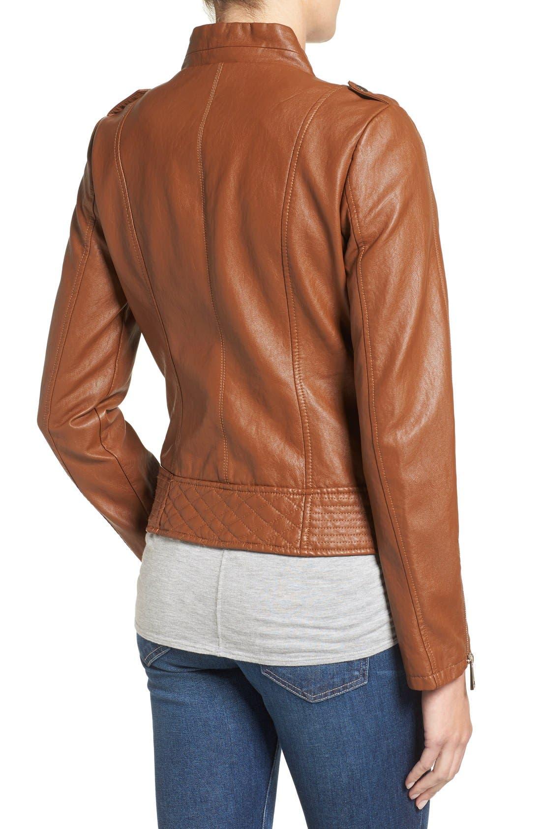 Alternate Image 2  - GUESS Faux Leather Moto Jacket (Regular & Petite)