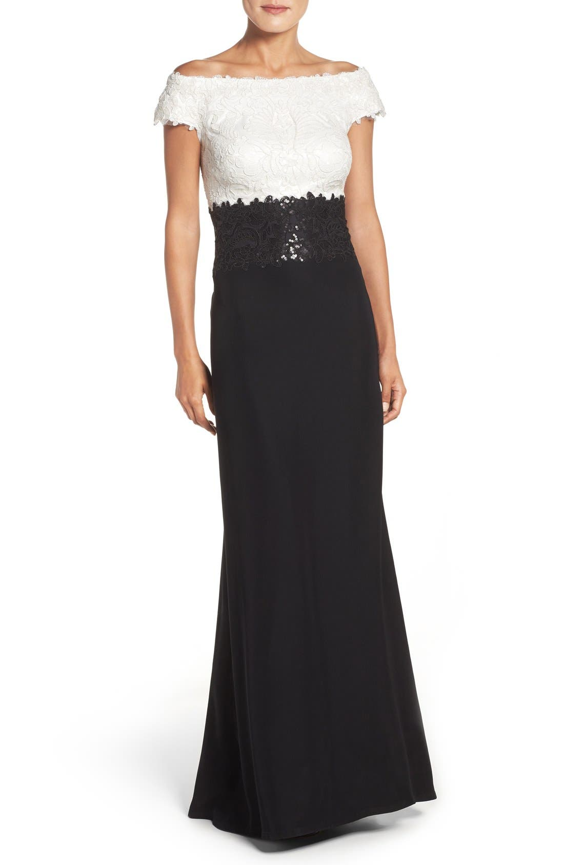 Alternate Image 1 Selected - Tadashi Shoji Off the Shoulder Lace Gown (Regular & Petite)