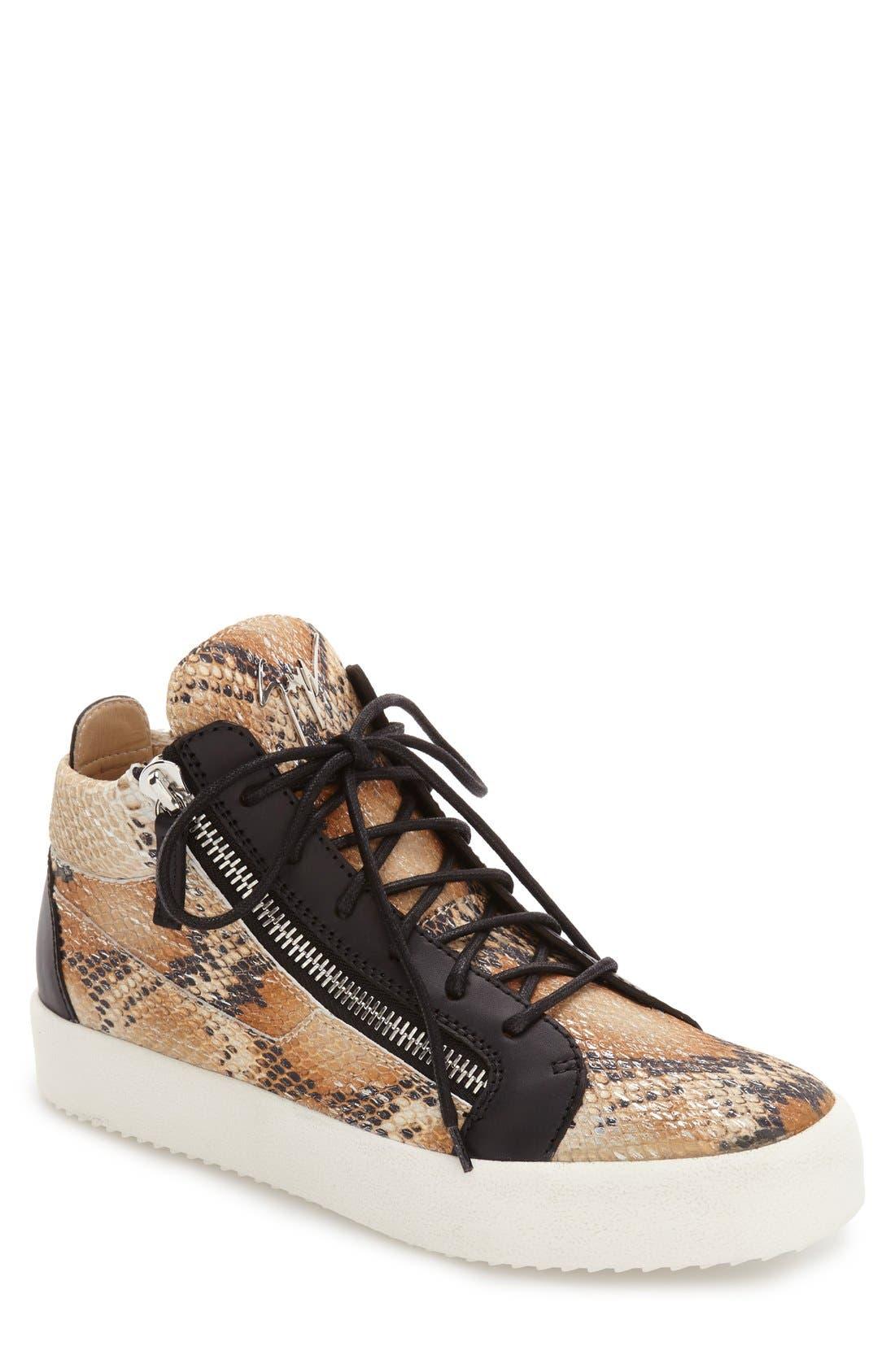 GIUSEPPE ZANOTTI Snake Embossed Mid Top Sneaker