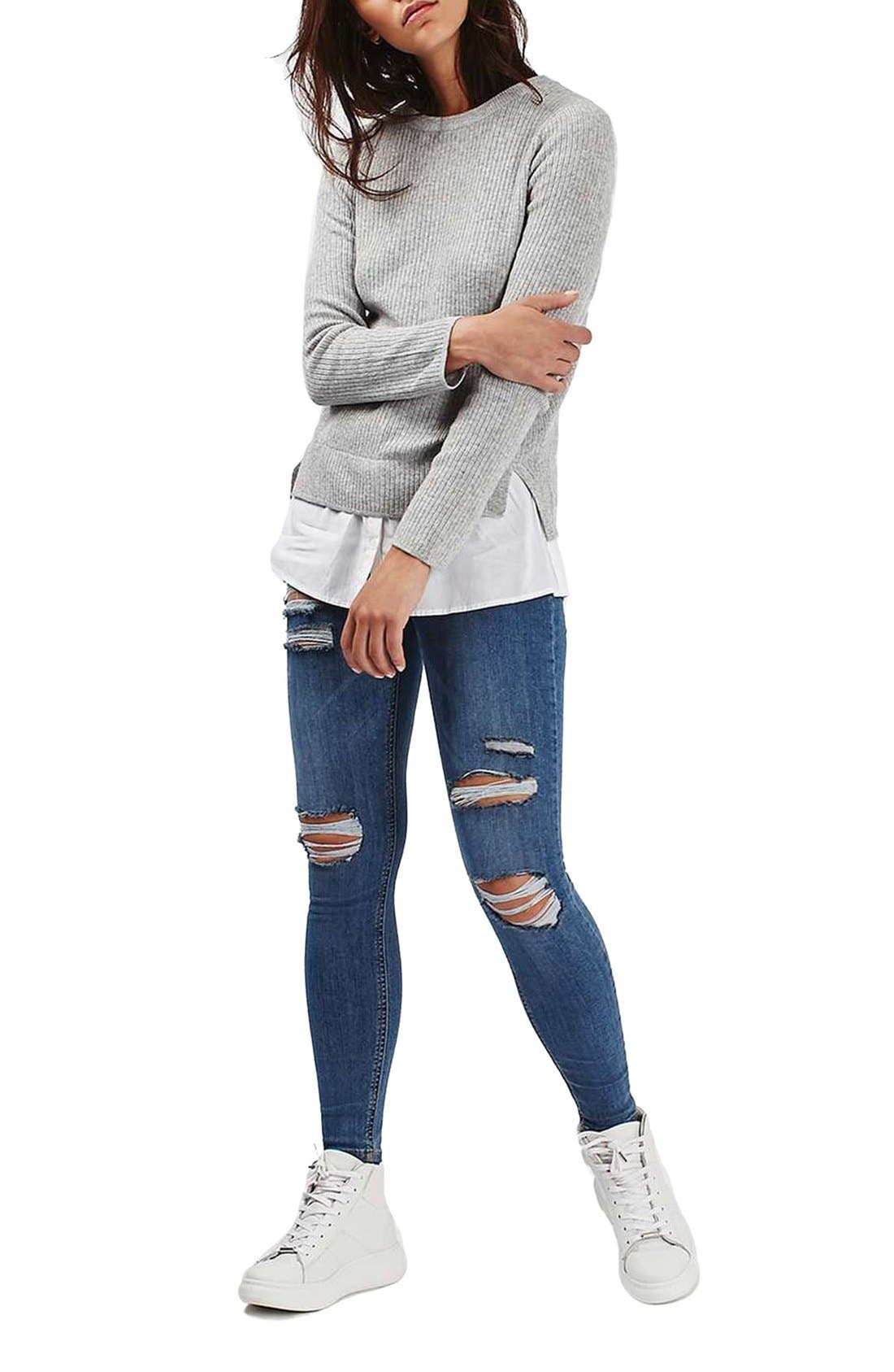Alternate Image 2  - Topshop Ribbed Layered Sweater