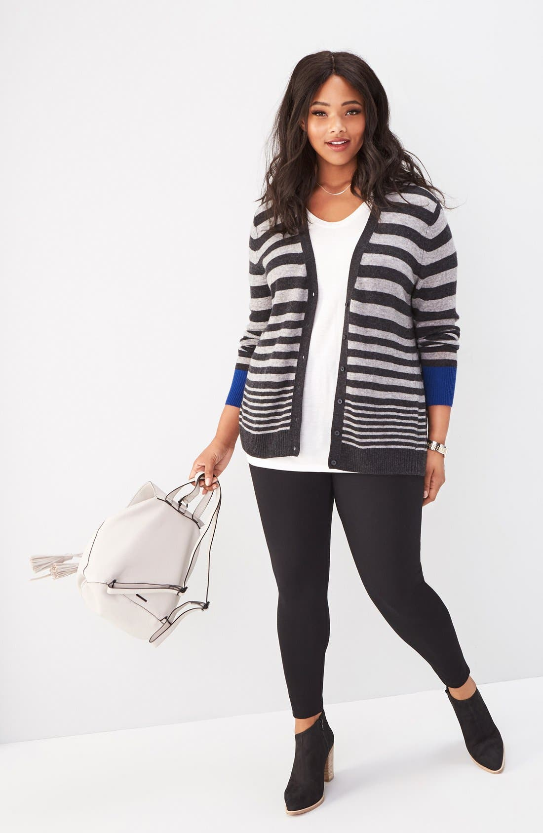 Sejour Cardigan & Leggings Outfit with Accessories (Plus Size)