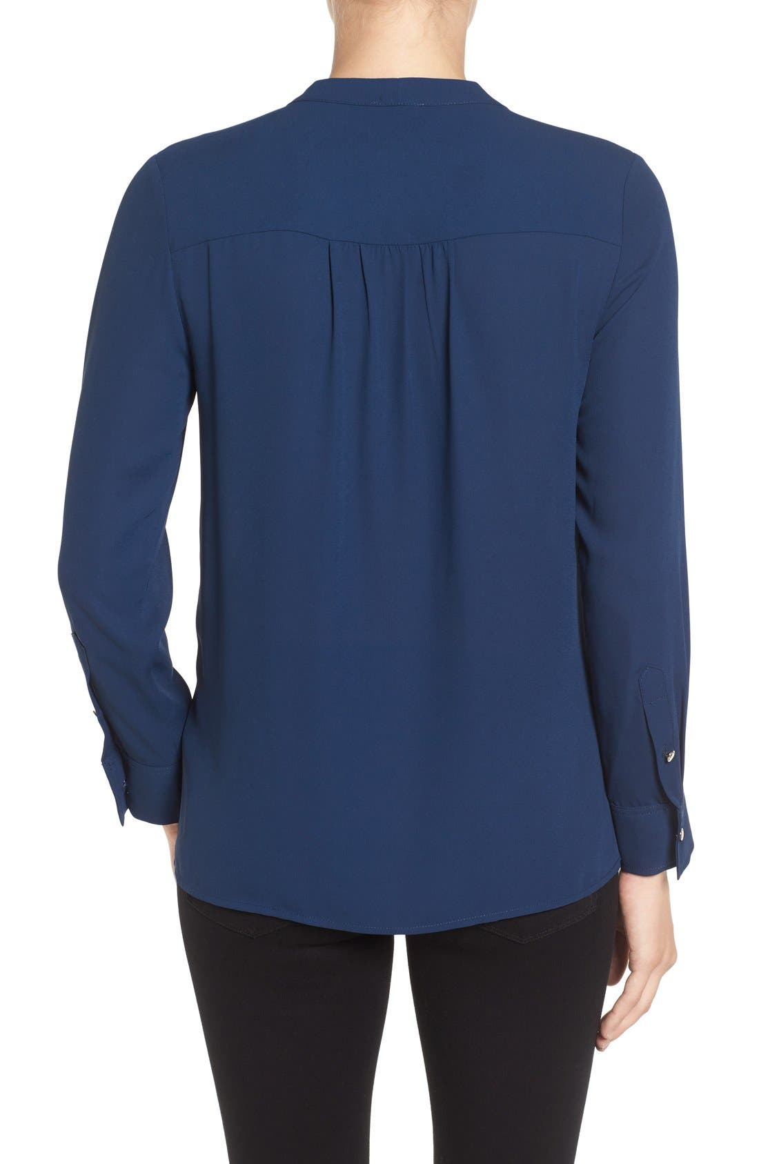 Alternate Image 2  - Vince Camuto Tie Neck Pleat Tuxedo Blouse