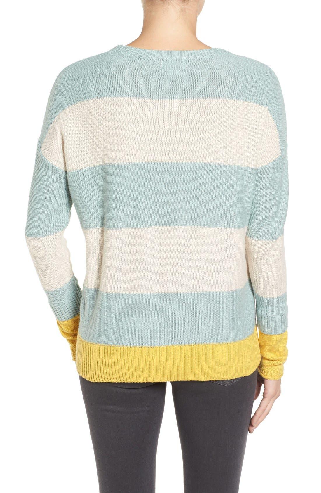 Alternate Image 2  - Caslon® Contrast Cuff Crewneck Sweater (Regular & Petite)