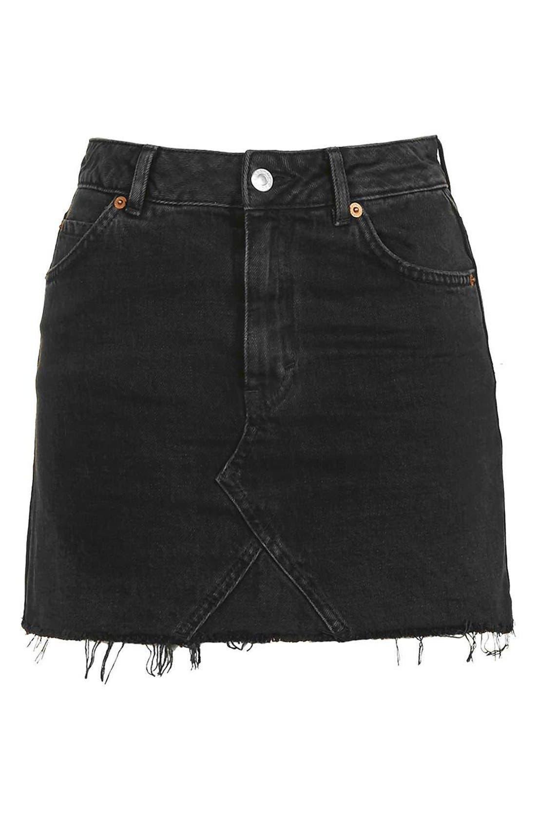 Alternate Image 4  - Topshop Moto Cutoff Denim Miniskirt