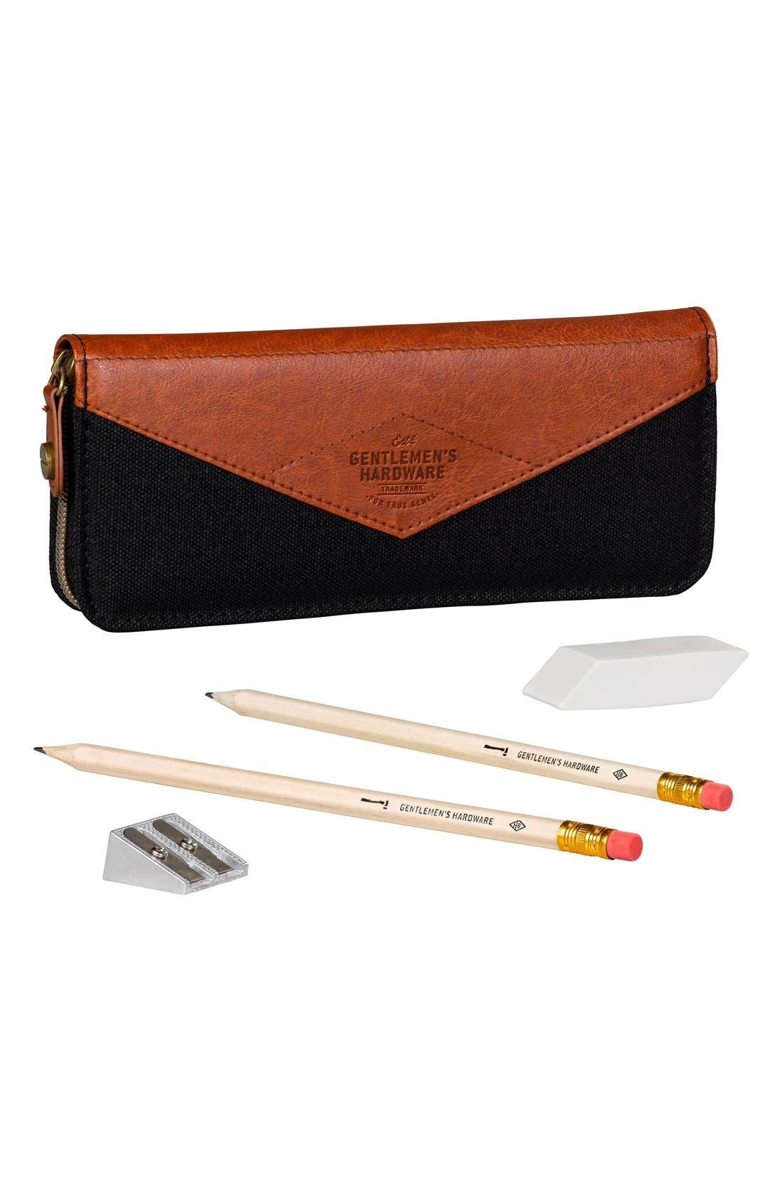 Wild and Wolf Gentlemen's Hardware Pencil Case, Pencils, Sharpener & Eraser