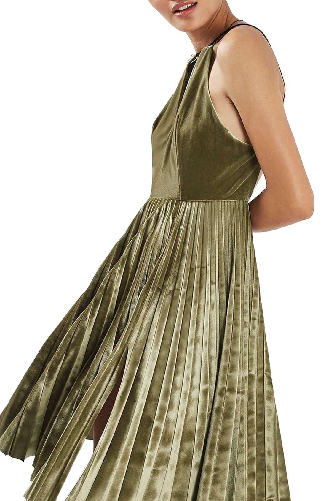 Alternate Image 5  - Topshop Pleated Velvet Fit & Flare Dress