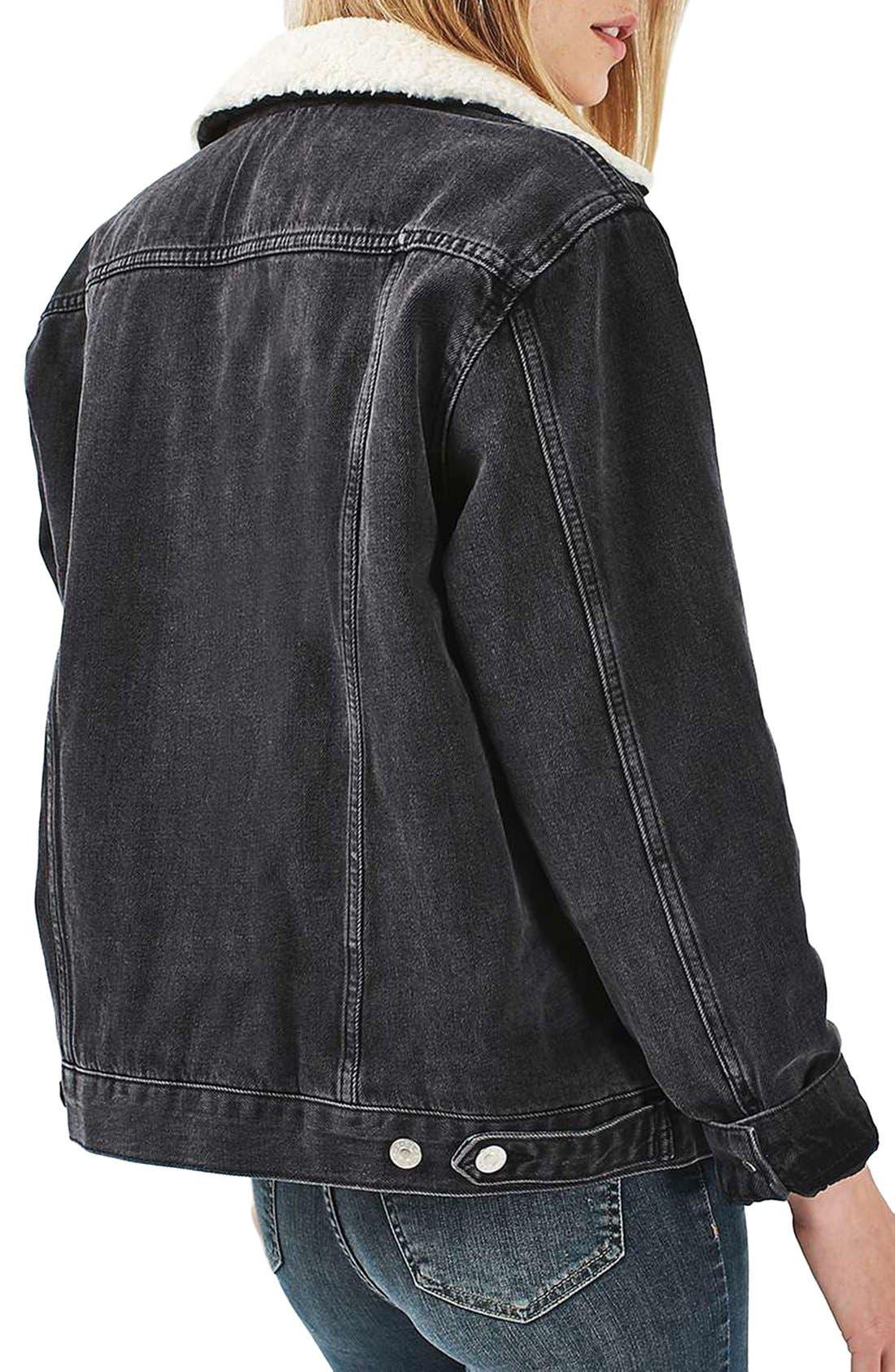 Alternate Image 3  - Topshop Moto Borg Lined Denim Jacket