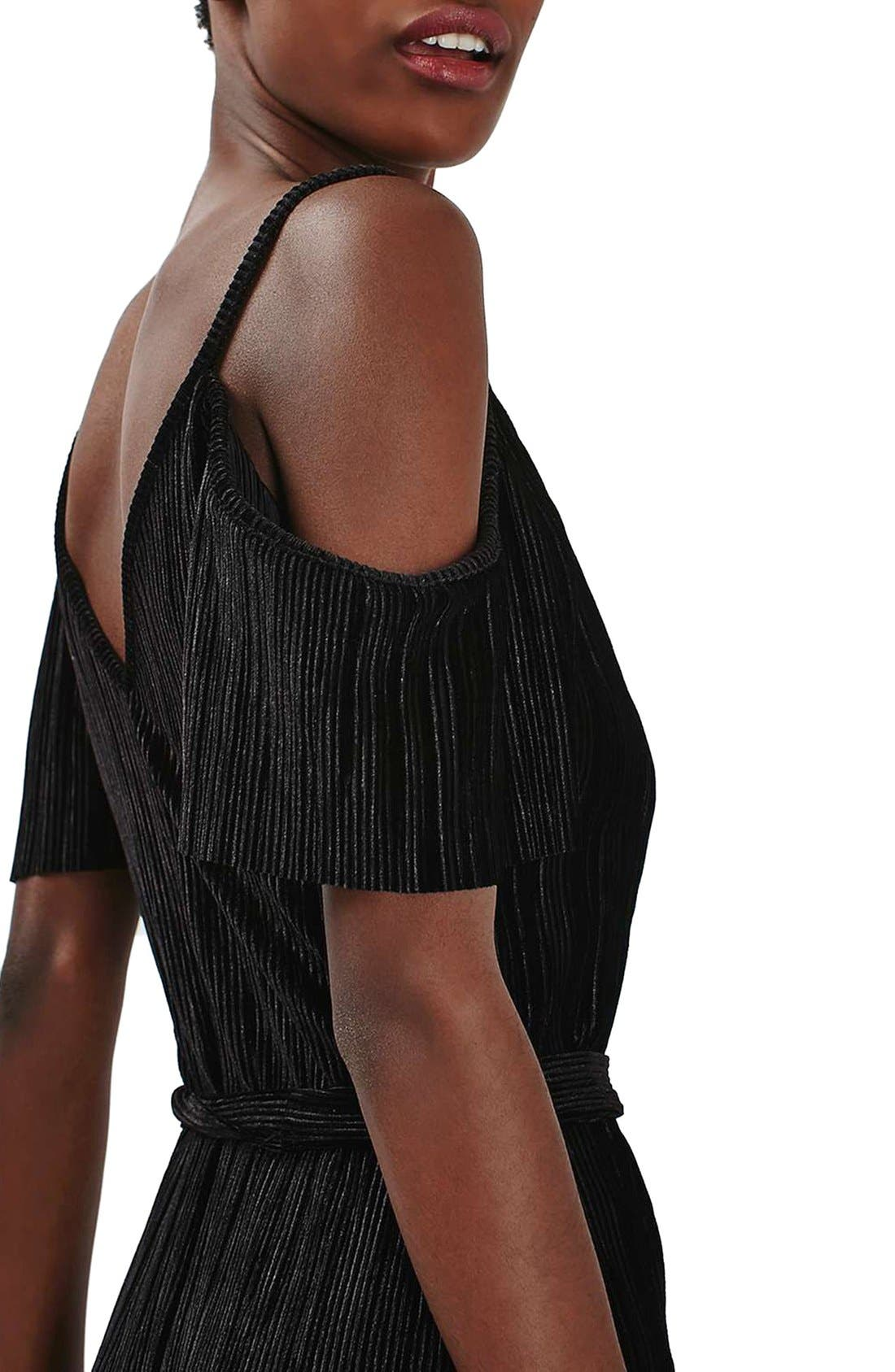 Alternate Image 5  - Topshop Cold Shoulder Velvet Plissé Jumpsuit