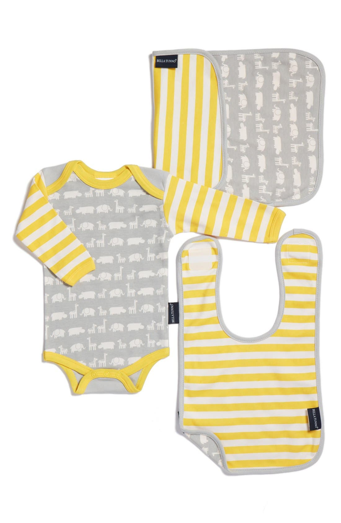 Bella Tunno Bodysuit, Bib & Burpie Cloth Set (Baby Boys)