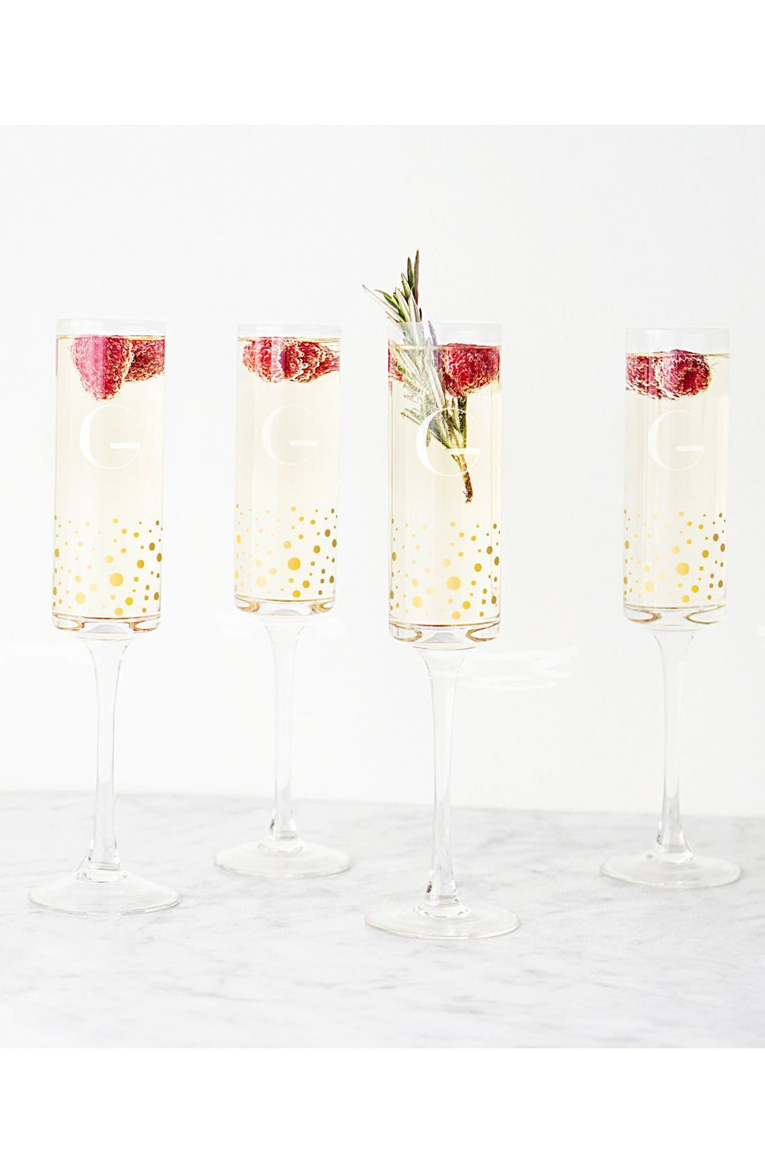 Alternate Image 4  - Cathy's Concepts Gold Dot Monogram Champagne Flutes