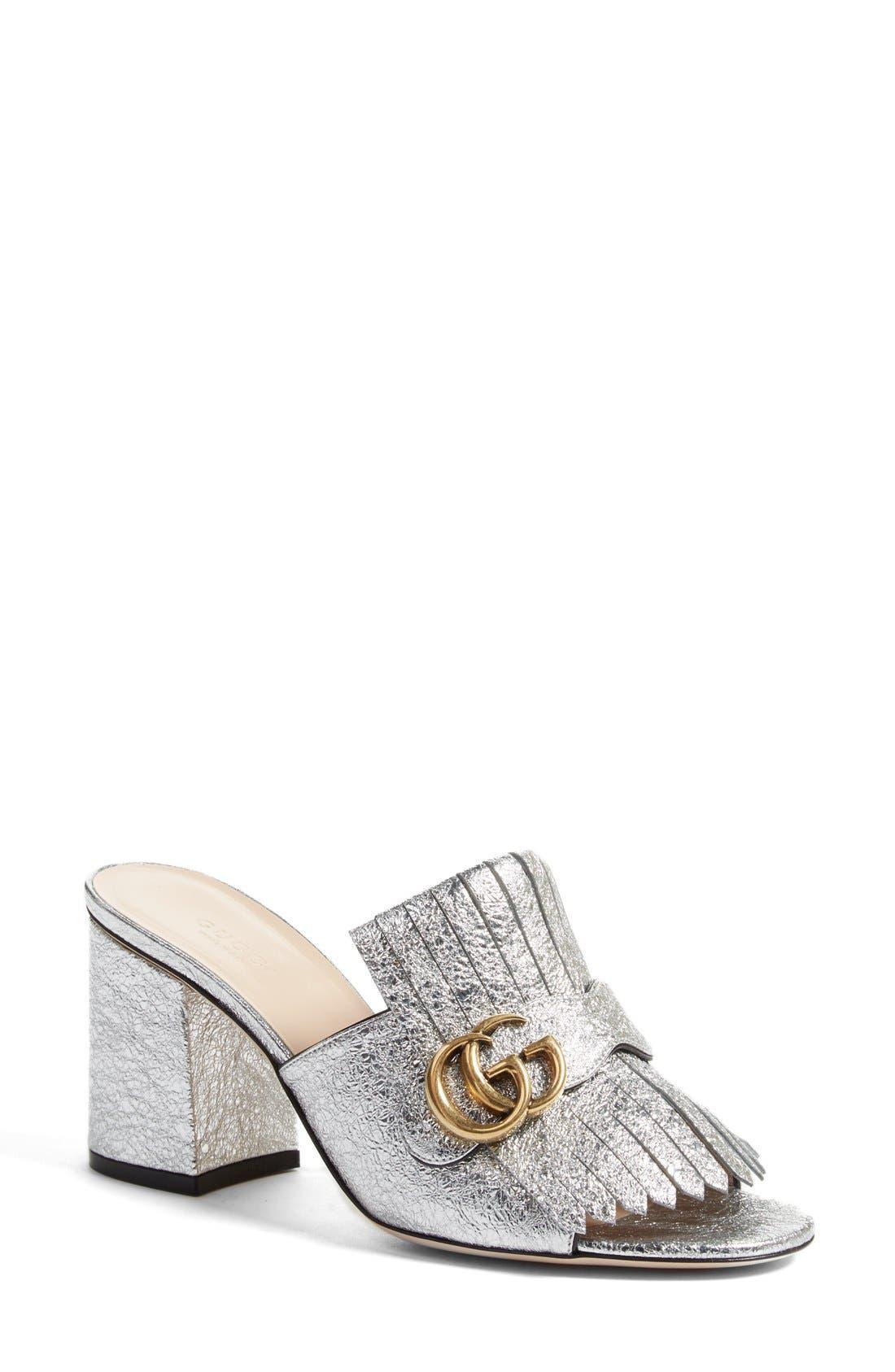 Gucci GG Marmont Peep Toe Kiltie Mule (Women)