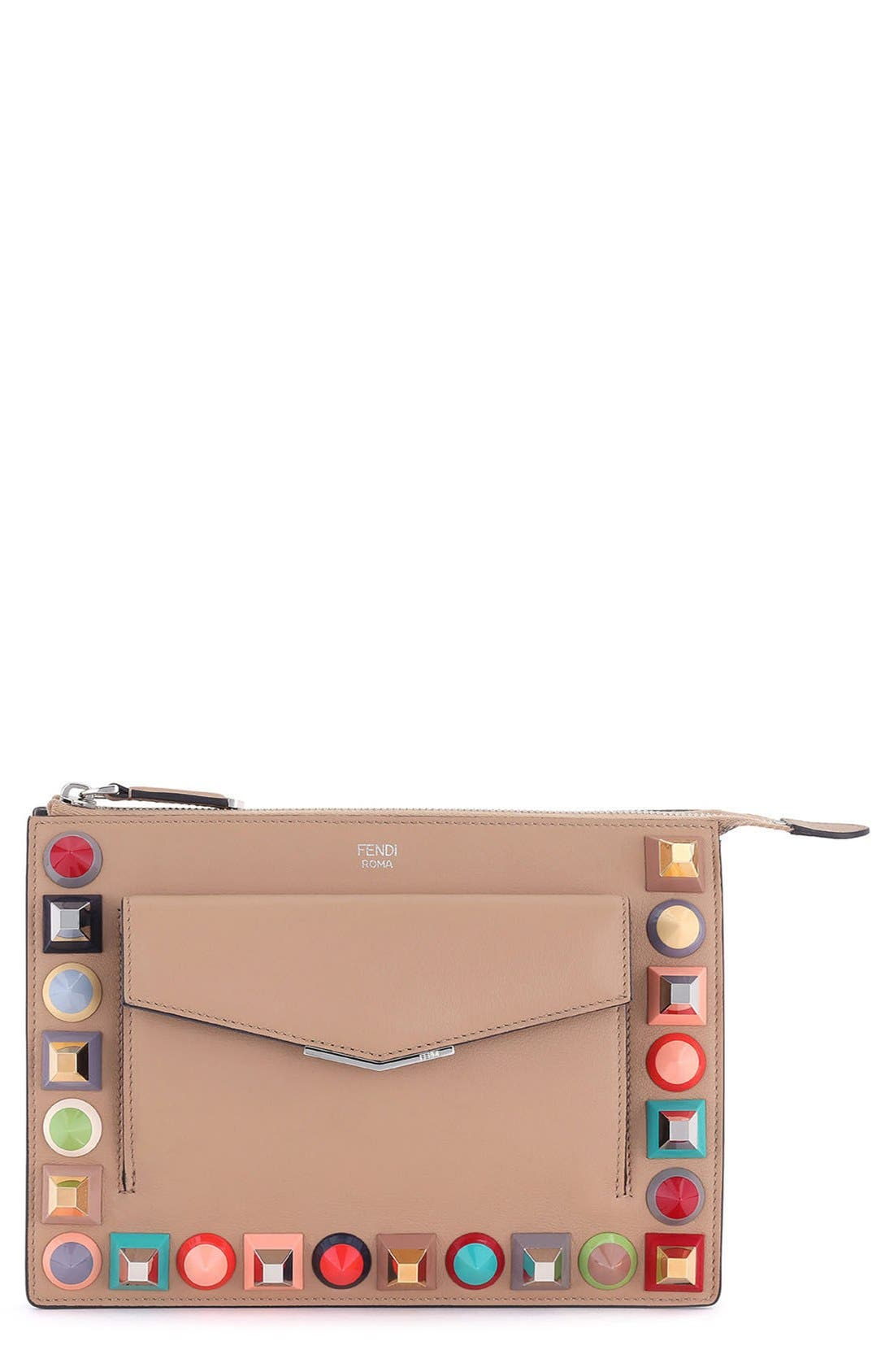 Main Image - Fendi Mini Studded Leather Zip Pouch