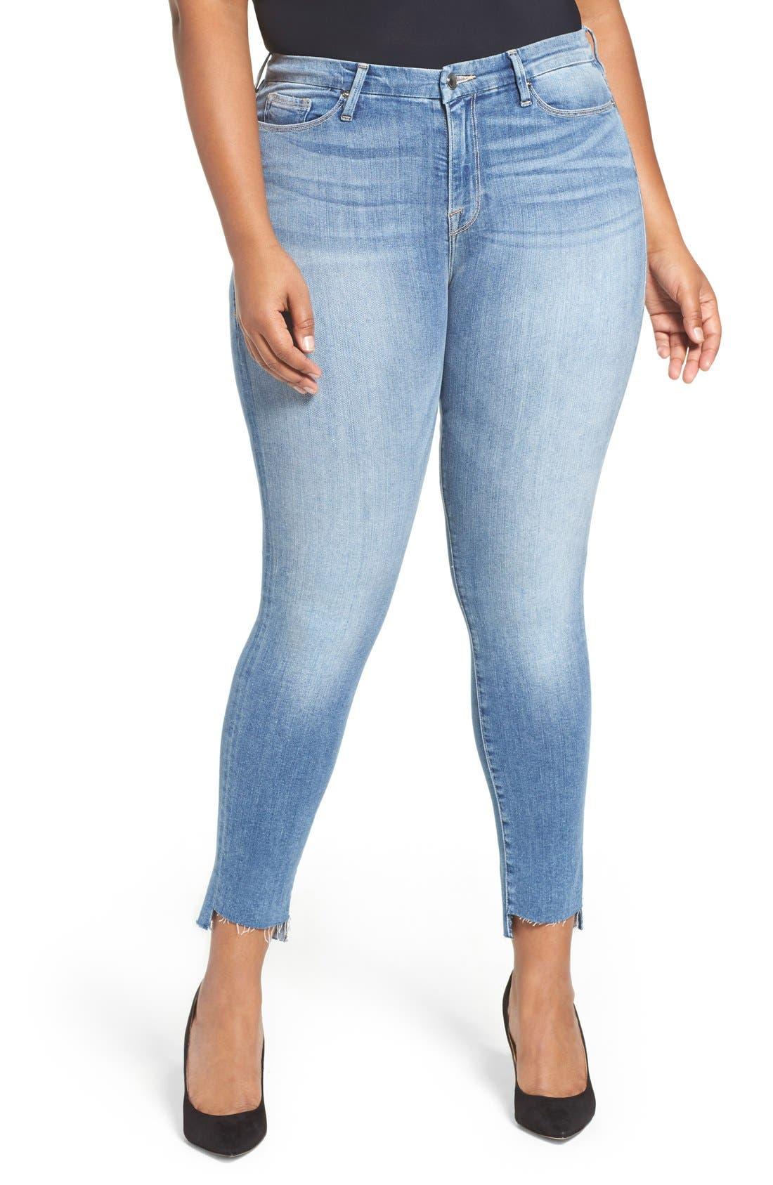 Alternate Image 1 Selected - Good American Good Legs High Rise Raw Step Hem Skinny Jeans